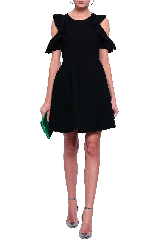 017e88583586 MILLY - Woman Cold-shoulder Ruffle-trimmed Stretch-knit Mini Dress Black -.  View fullscreen