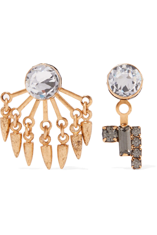 Elizabeth Cole Oval Gem Drop Earring in Metallic Gold 0Dupiu7FE