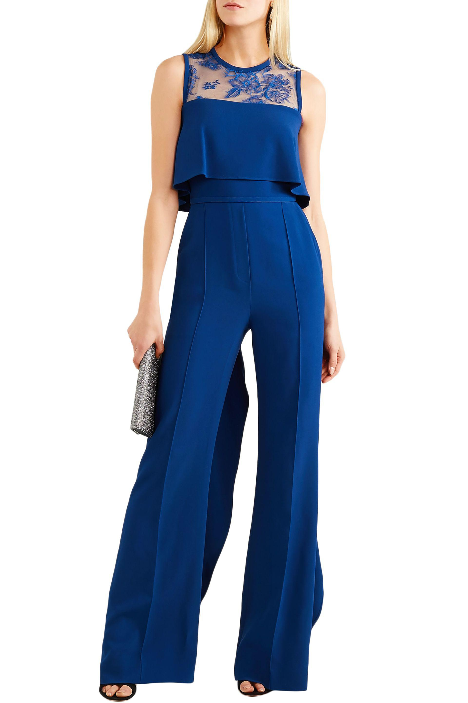 96979feeb15b Elie Saab - Blue Ruffled Lace-paneled Stretch-crepe Jumpsuit - Lyst. View  fullscreen