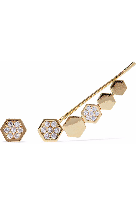 Astrid & Miyu Astrid & Miyu Woman Snake Charmer Gold-plated Crystal Ear Cuff Gold Size QmkyxoTiA