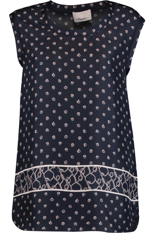 3.1 Phillip Lim. Women's Printed Silk Crepe De Chine Top Midnight Blue ...