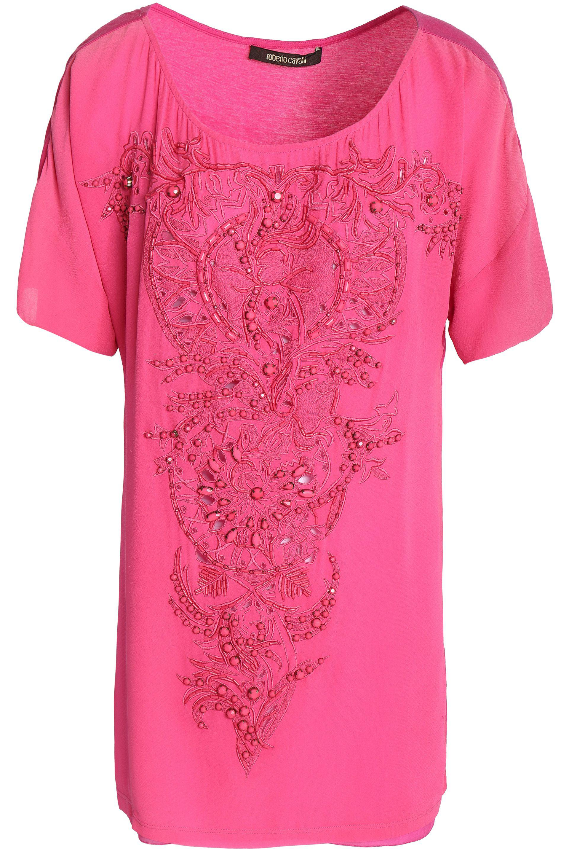 Roberto Cavalli. Women's Pink Embellished Embroidered Silk Top