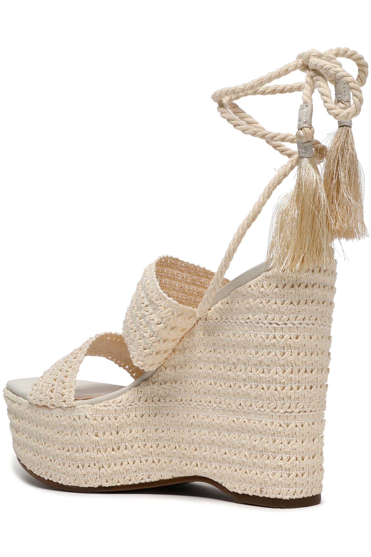 10ba5195308 Lyst - Schutz Woman Lace-up Shirred Crochet Platform Wedge Sandals ...