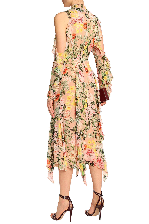 Nicholas Woman Cold-shoulder Ruffled Floral-print Silk Crepe De Chine Midi Dress Peach Size 2 Nicholas VWnPxd