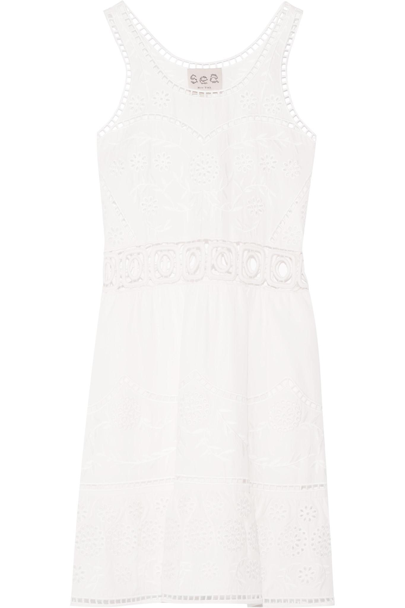 Sea. Women's White Cutout Embroidered Tencel Dress