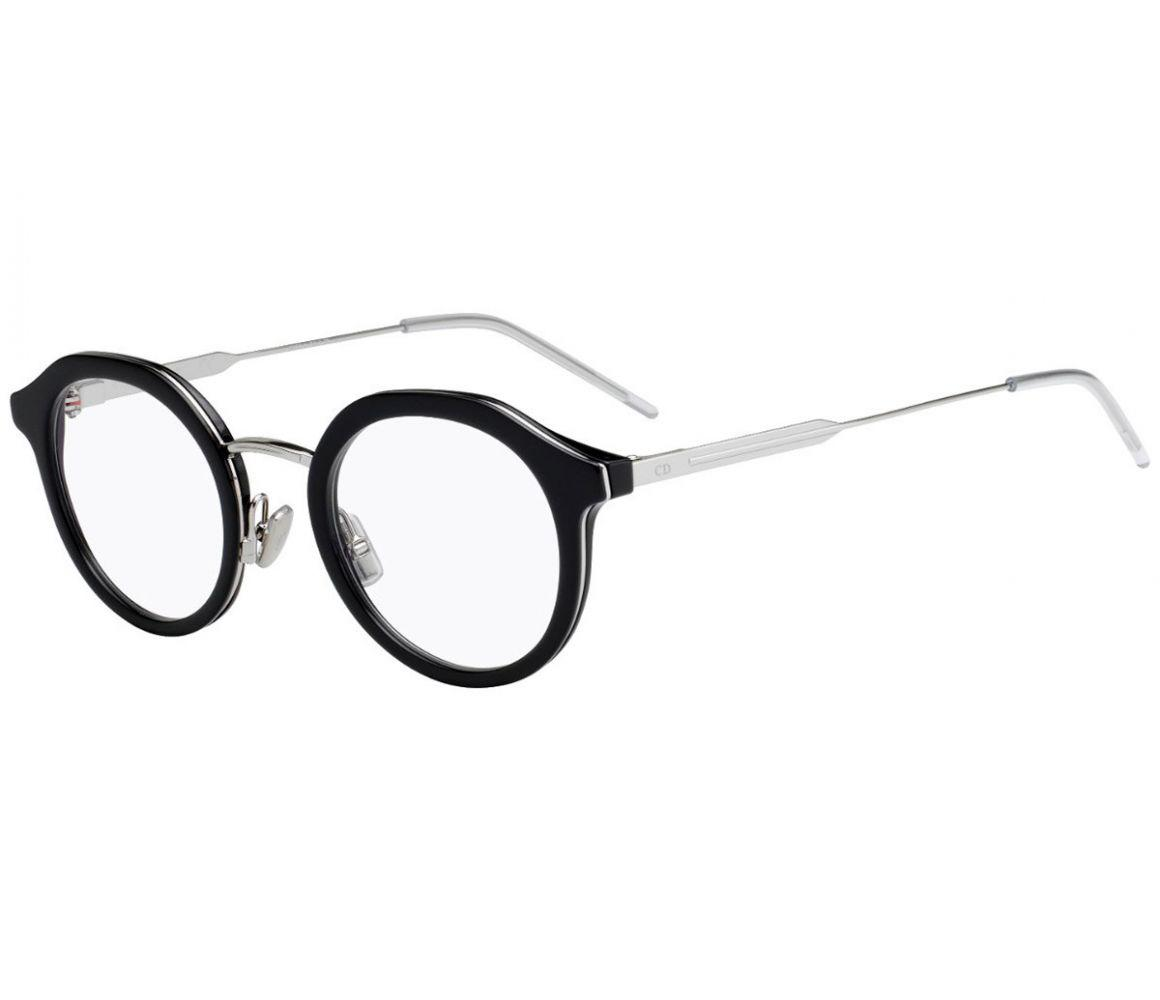 f0f674705660 Dior Homme. Men s Black And Silver Round Frames With Clear Lenses Eyewear  ...
