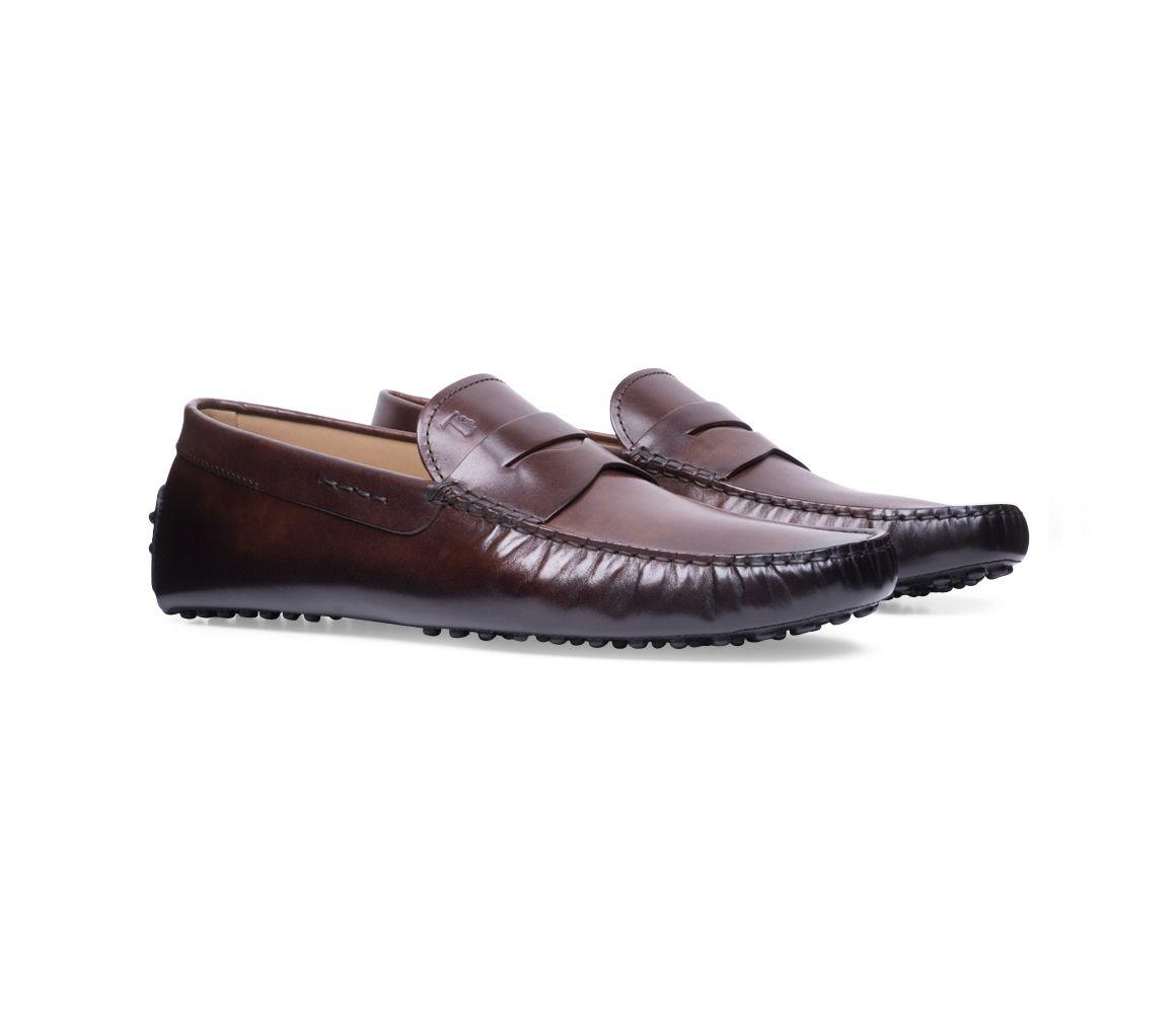 f5570e95089 Lyst - Tod s Brown Hand-patinated Leather Gommino Driving Shoes in ...