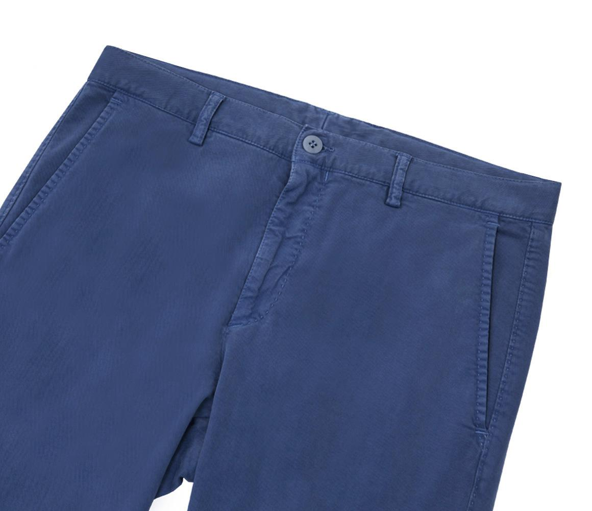 Mid Blue Slim Leg Cotton And Wool Trousers Anderson & Sheppard Mxs81Rey