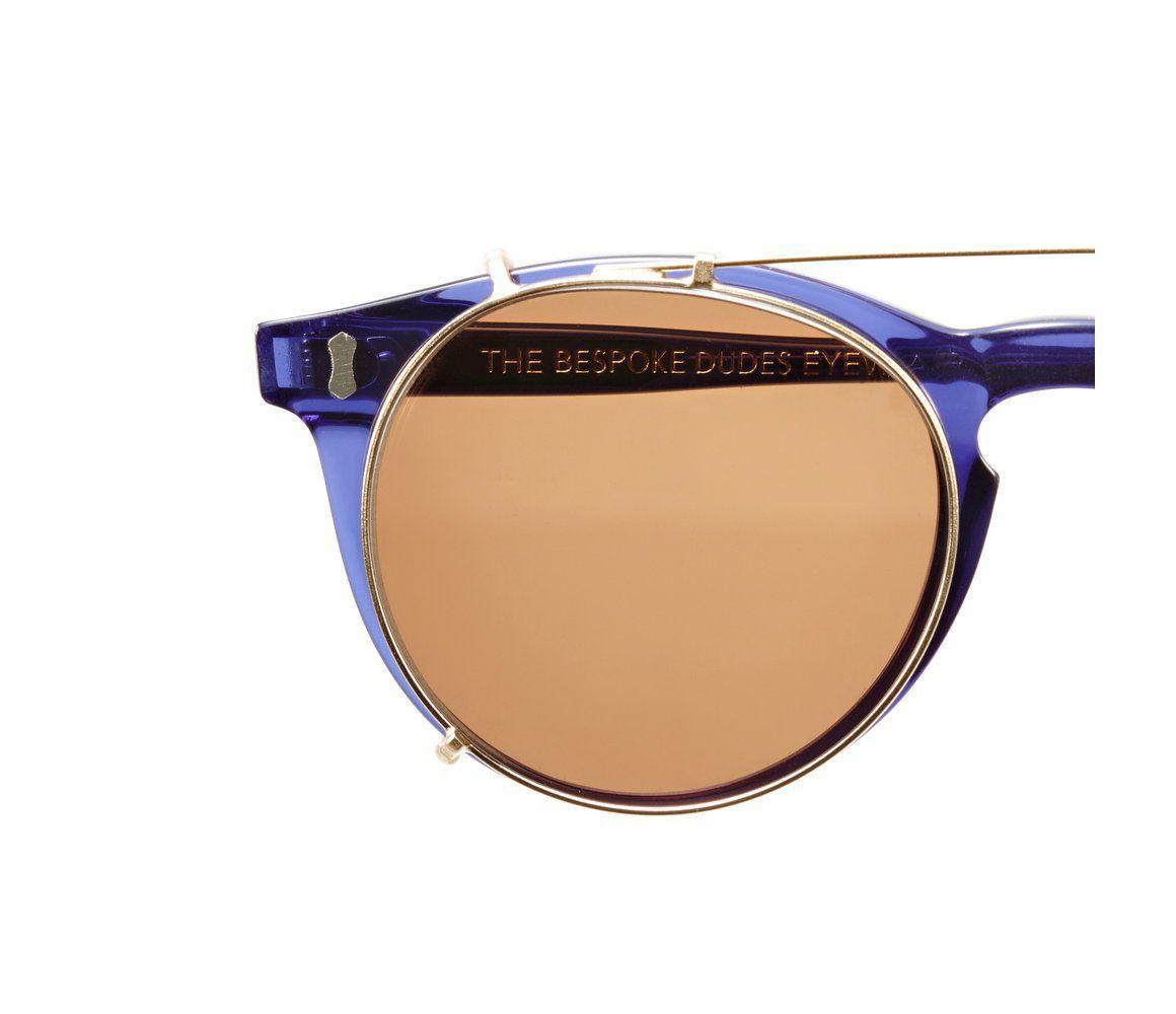 690f3e12dd The Bespoke Dudes Eyewear - Pleat Dark Blue Acetate Tobacco Lens Sunglasses  for Men - Lyst. View fullscreen
