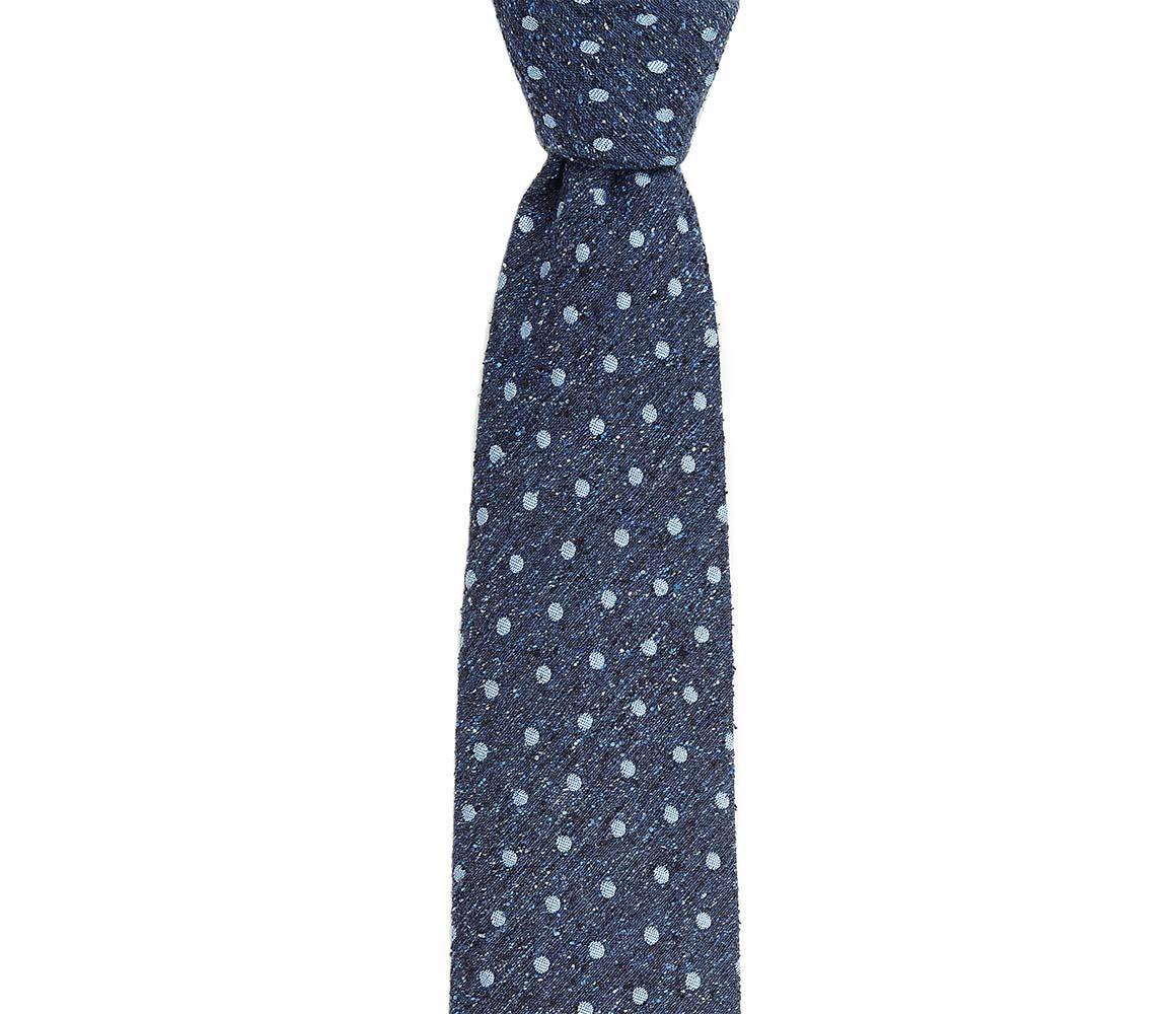 Navy and Sky Spot Noile Silk Tie Augustus Hare nWUYQQ