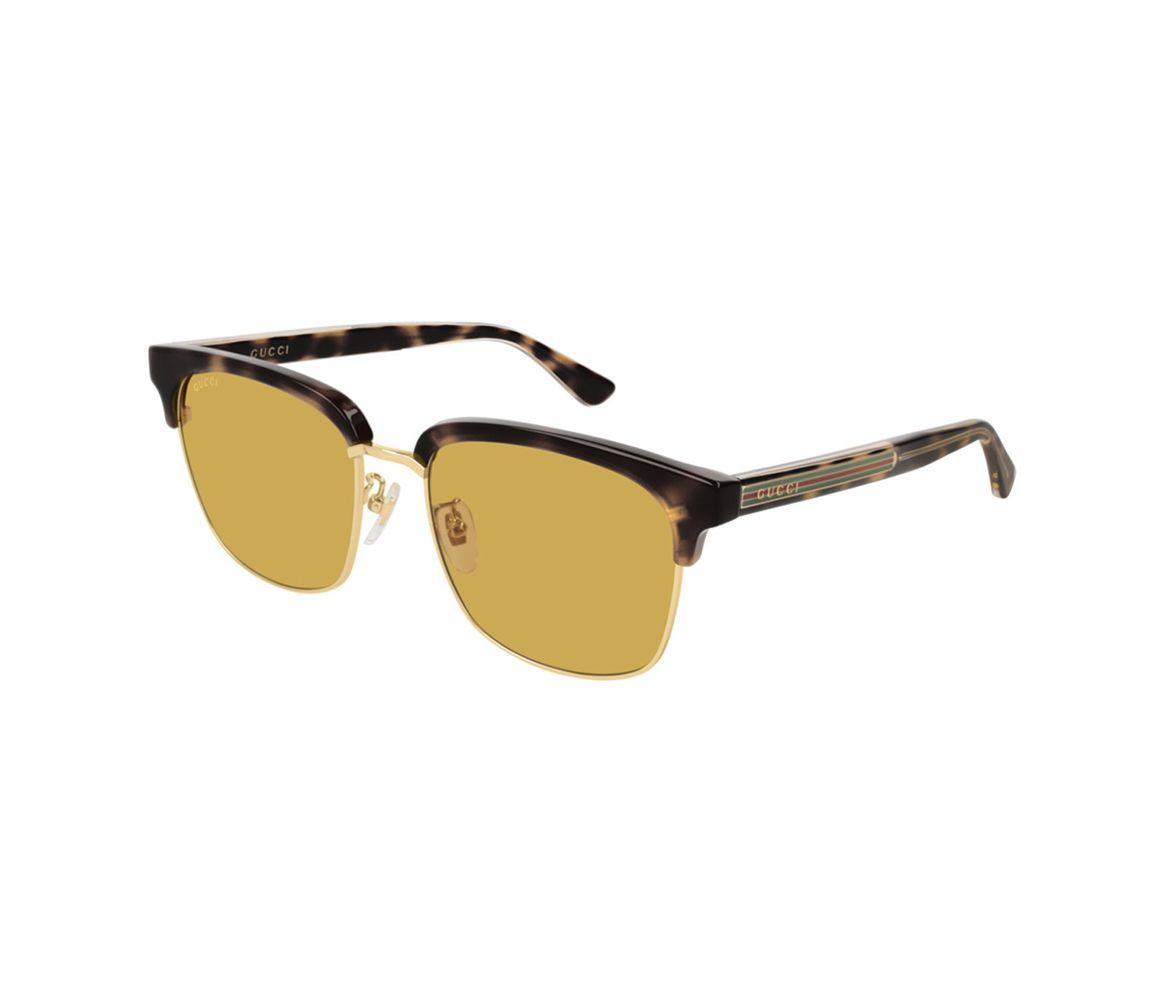 ad28ff2147 Gucci Tortoiseshell Acetate GG0382S-004 Browline Sunglasses for Men ...