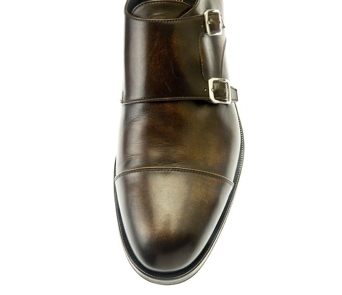 14e16b40e790 Belsire - Brown Berny Leather Double Buckle Monk Strap Shoes for Men -  Lyst. View fullscreen