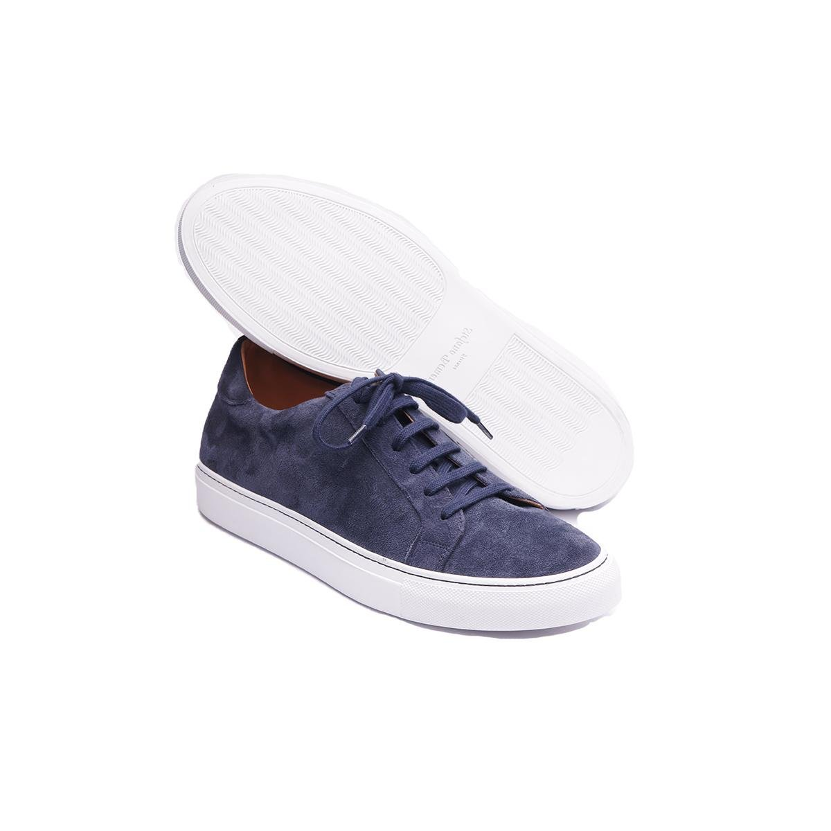 Outlet With Credit Card Baltic Blue Kudu Suede Sneakers Stefano Bemer Orange 100% Original YMp0zZ2