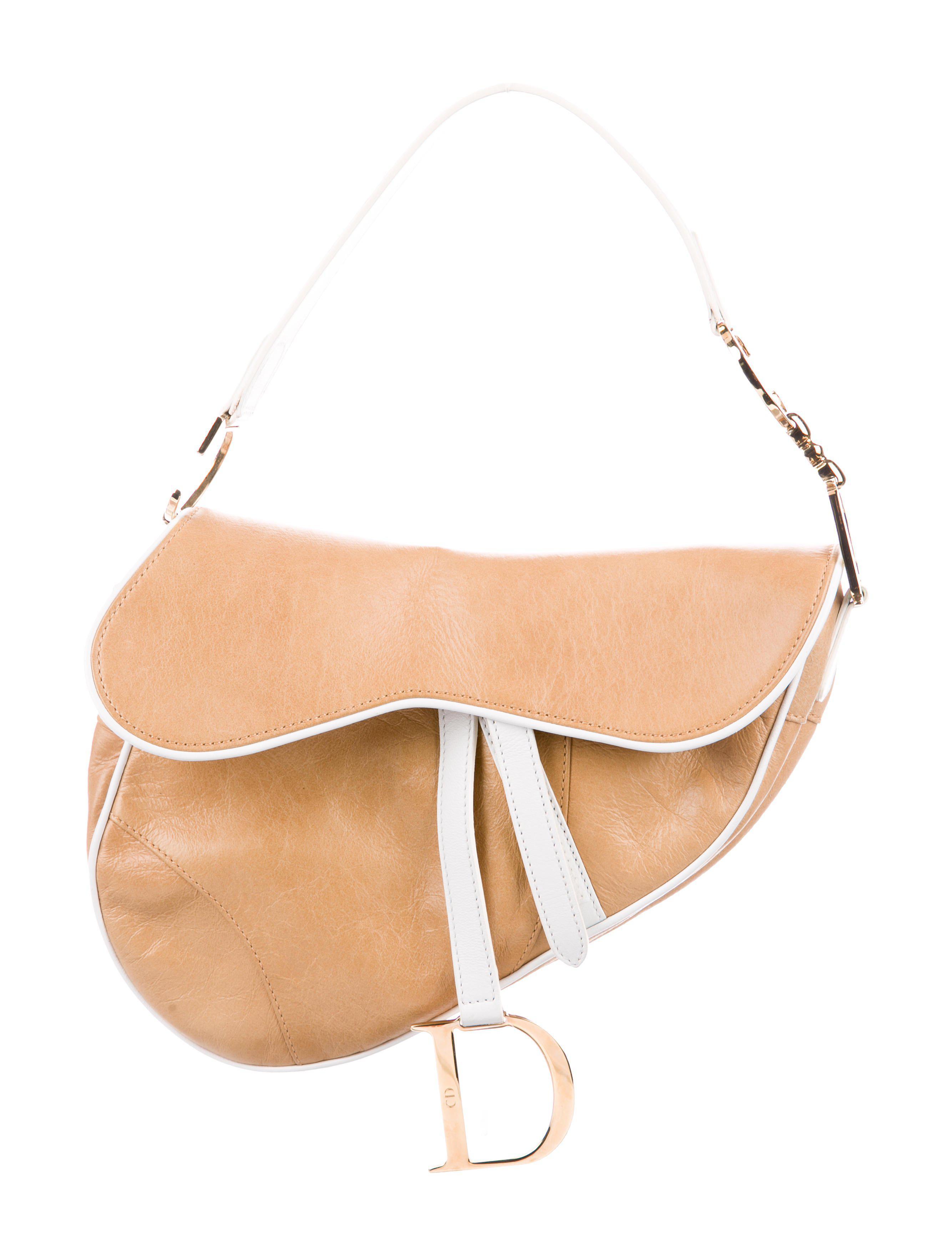 3d4b0a11ba43 Lyst - Dior Leather Saddle Bag Tan in Metallic