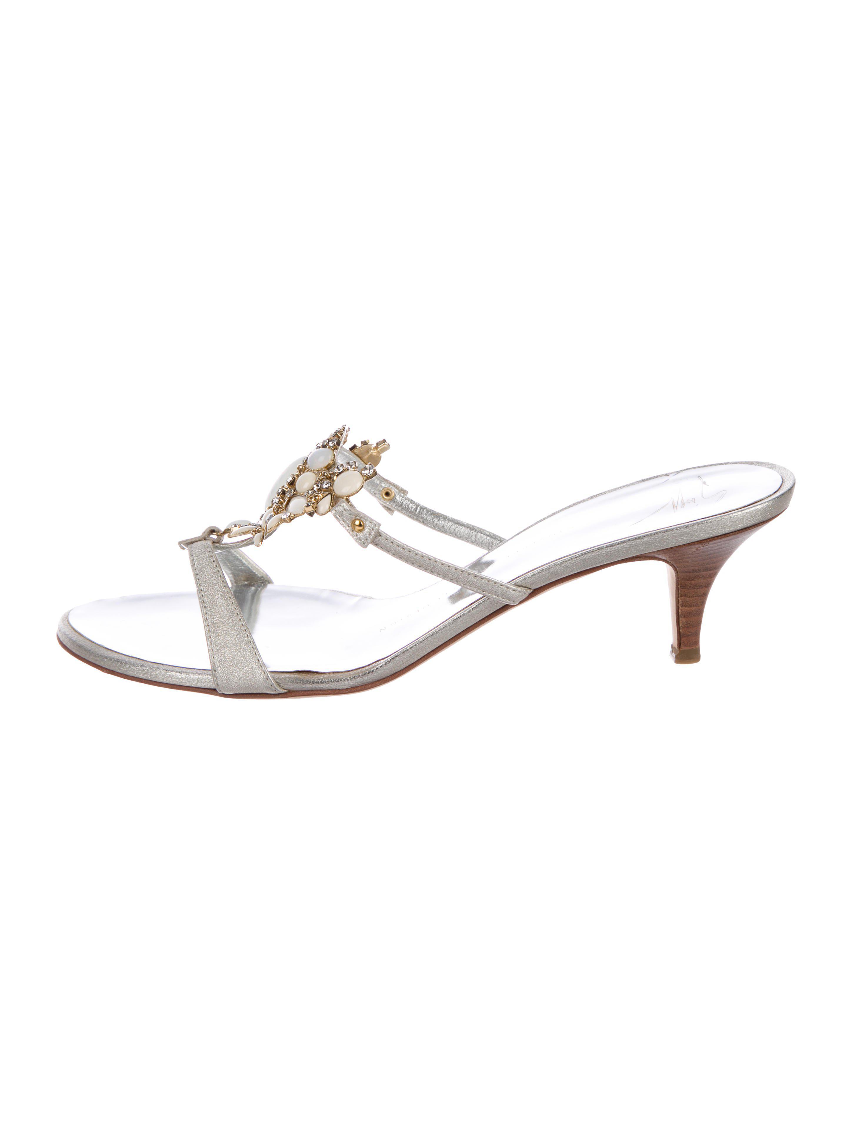 8fa7b49573bfe5 Lyst - Giuseppe Zanotti Embellished Leather Sandals Silver in Metallic