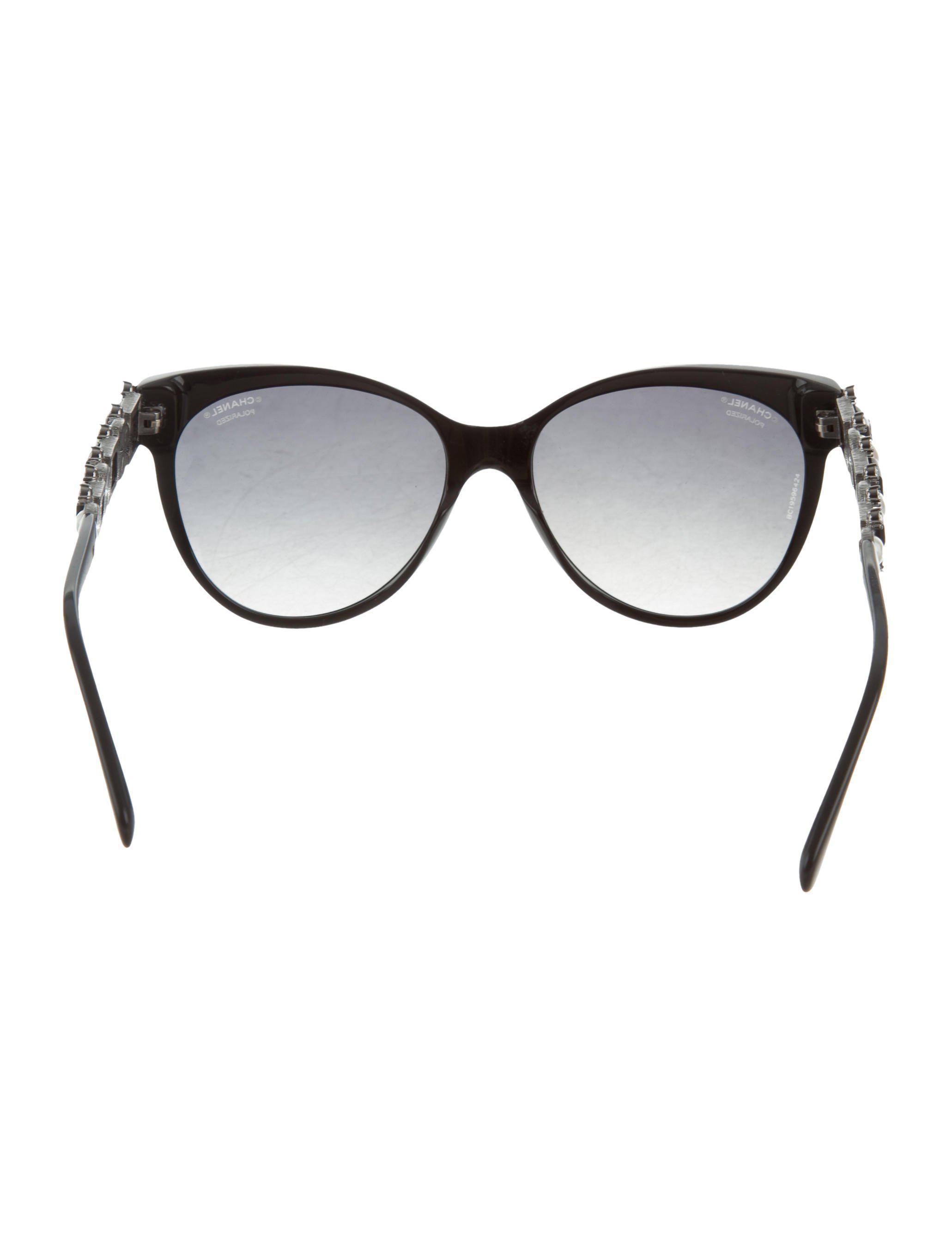 Lyst - Chanel Bijou Cat-eye Sunglasses in Black