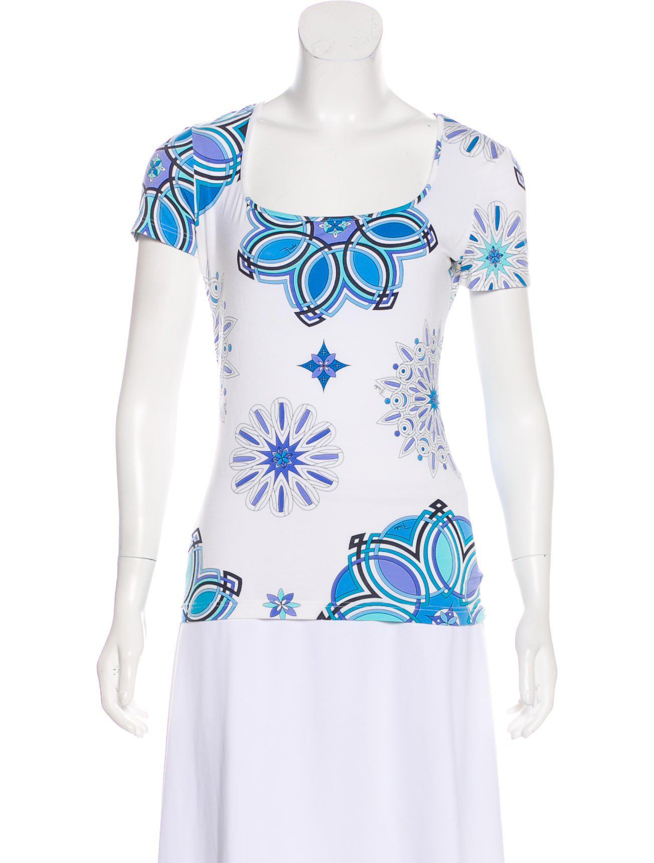 c3a529e3daa3 Lyst - Emilio Pucci Printed Short Sleeve T-shirt in White