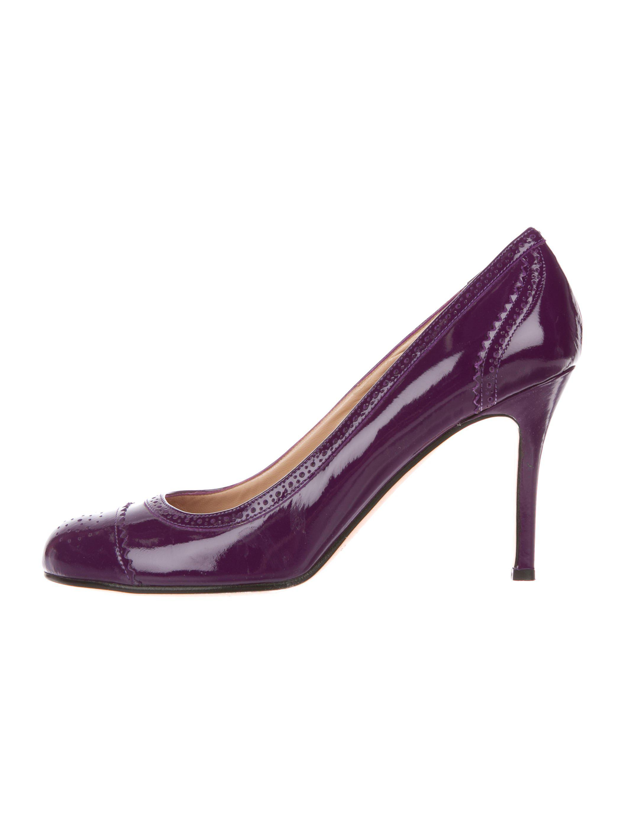 d1eba1ceeeaa Lyst - Kate Spade Patent Leather Brogue Pumps in Purple
