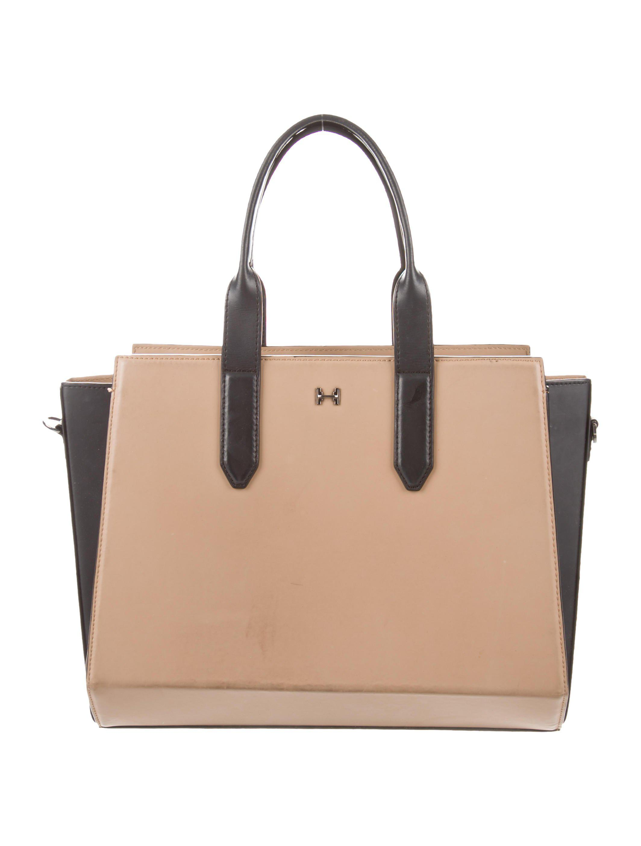 7ad4f881d7 Lyst - Halston Heritage Colorblock Leather Satchel Beige in Natural