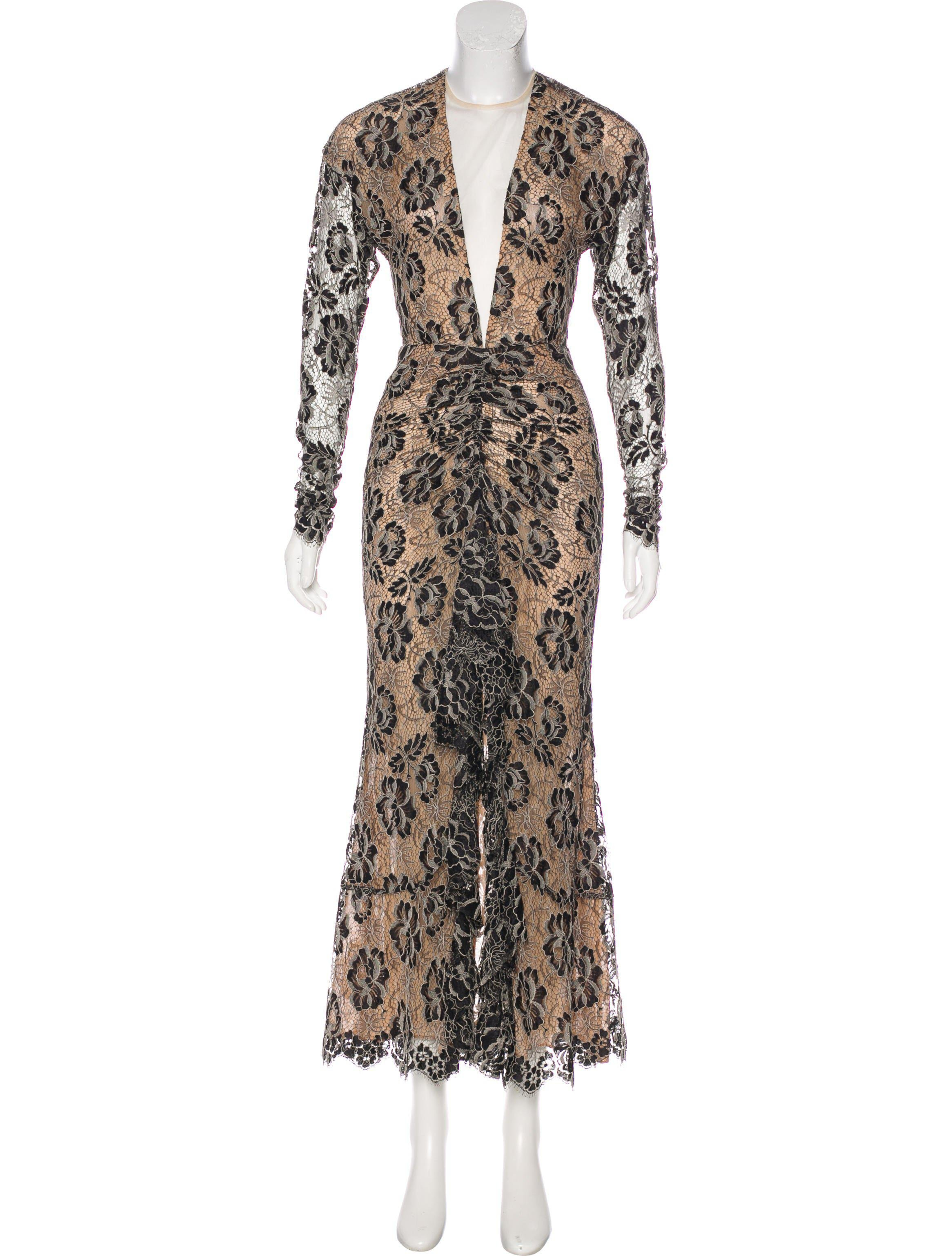 Lyst - Alessandra Rich Lace Evening Dress Tan in Natural