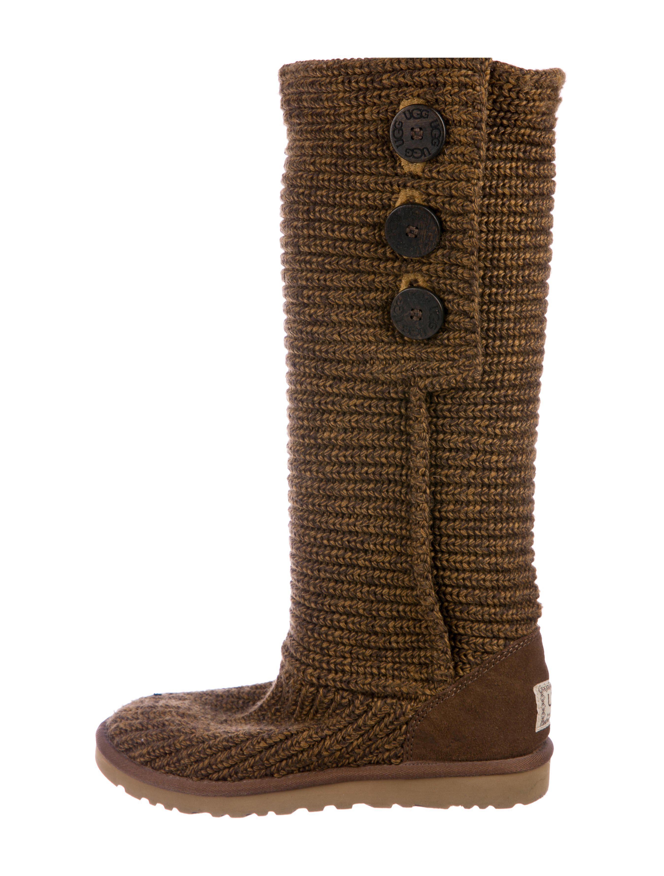 UGG. Women's Brown Knit Knee-high Boots