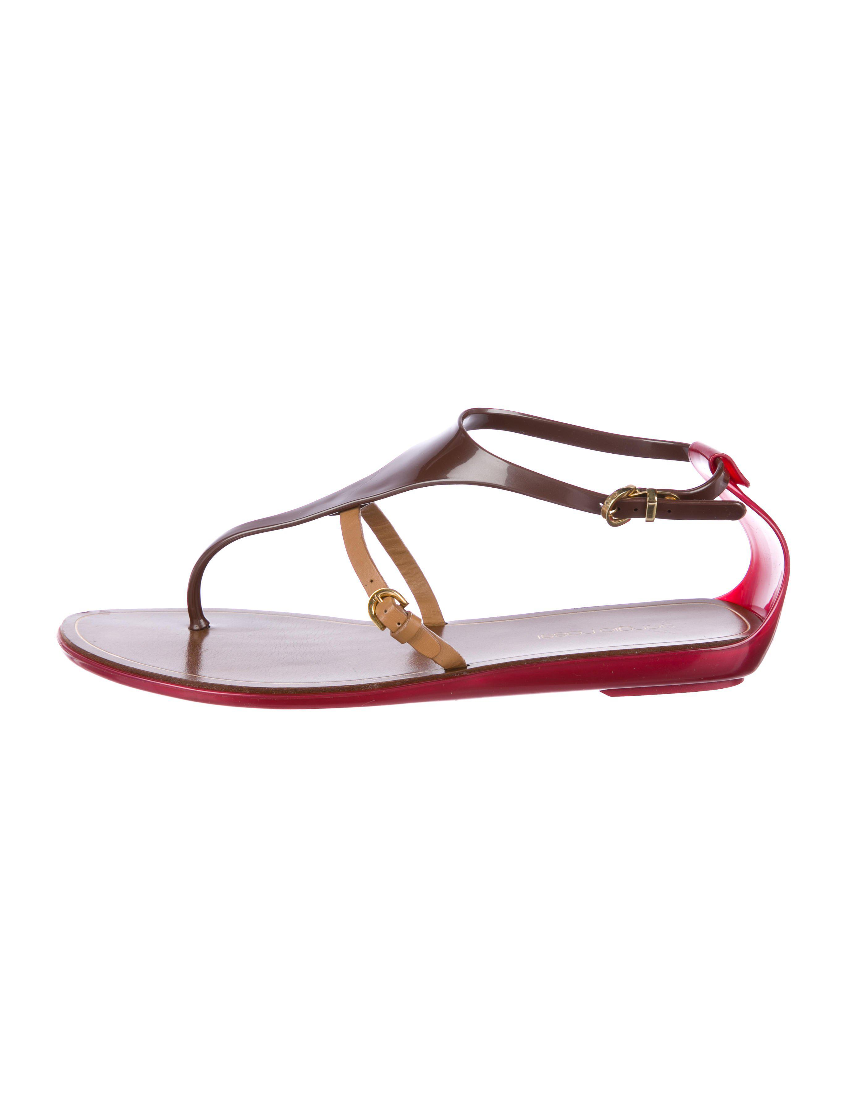 b24ece304584ee Lyst - Sergio Rossi Rubber Thong Sandals in Brown