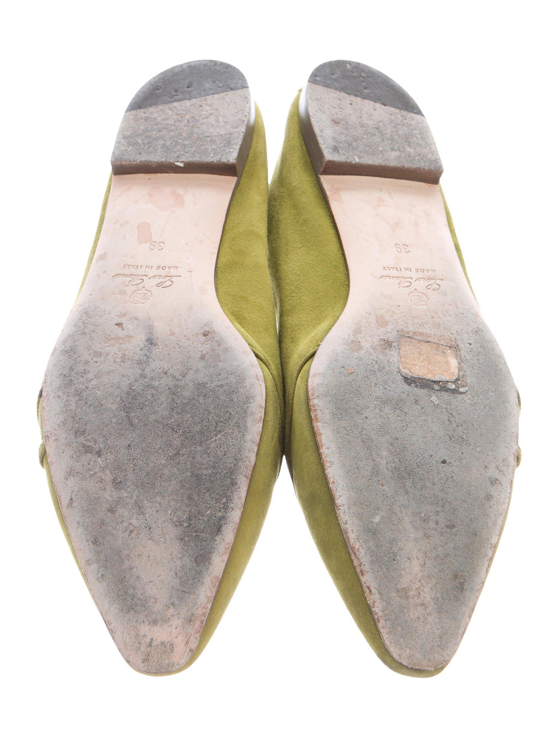 5955b476cc6 Lyst - Loro Piana Suede Pointed-toe Flats Green in Metallic