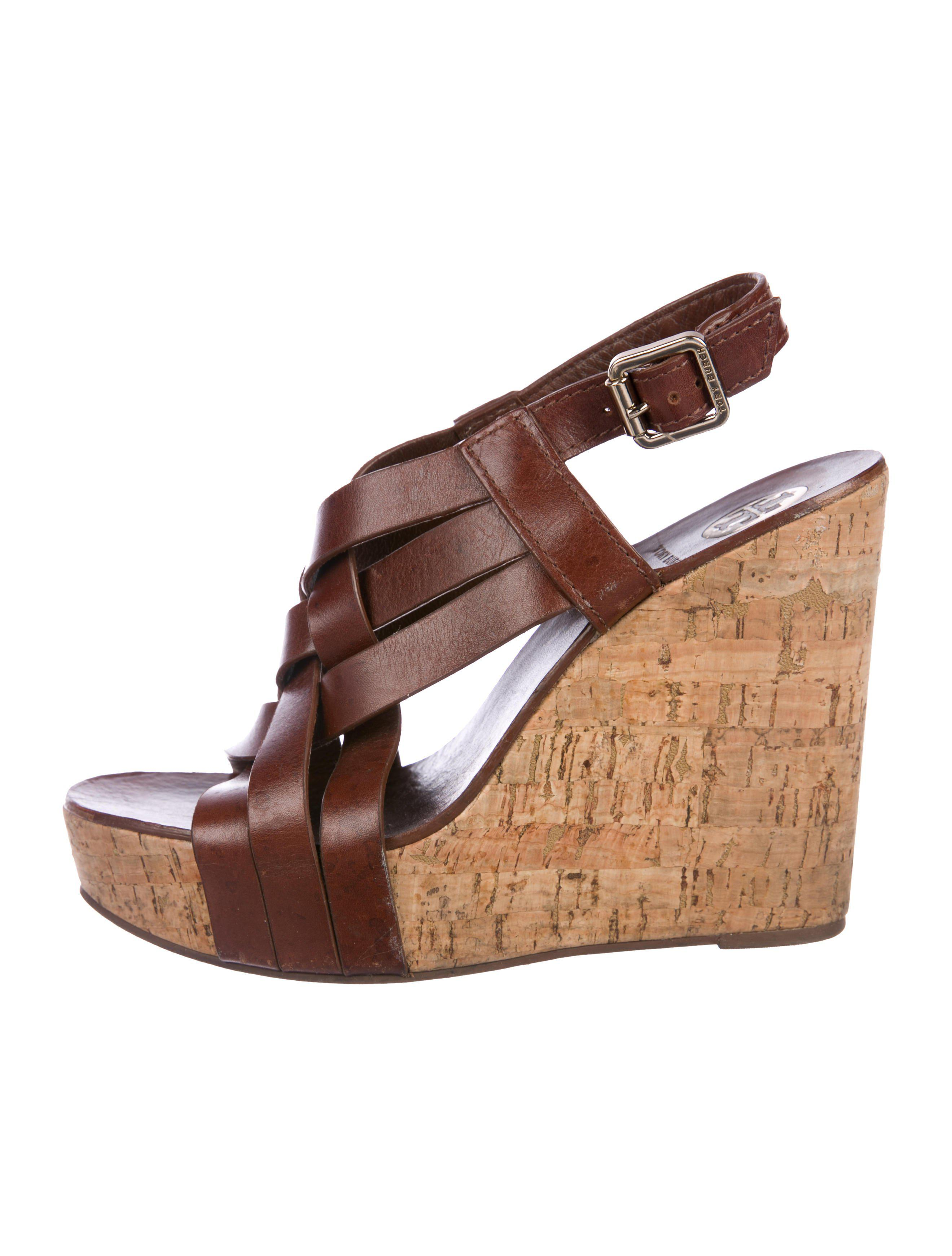 951bf646b Lyst - Tory Burch Crossover Wedge Sandals in Brown