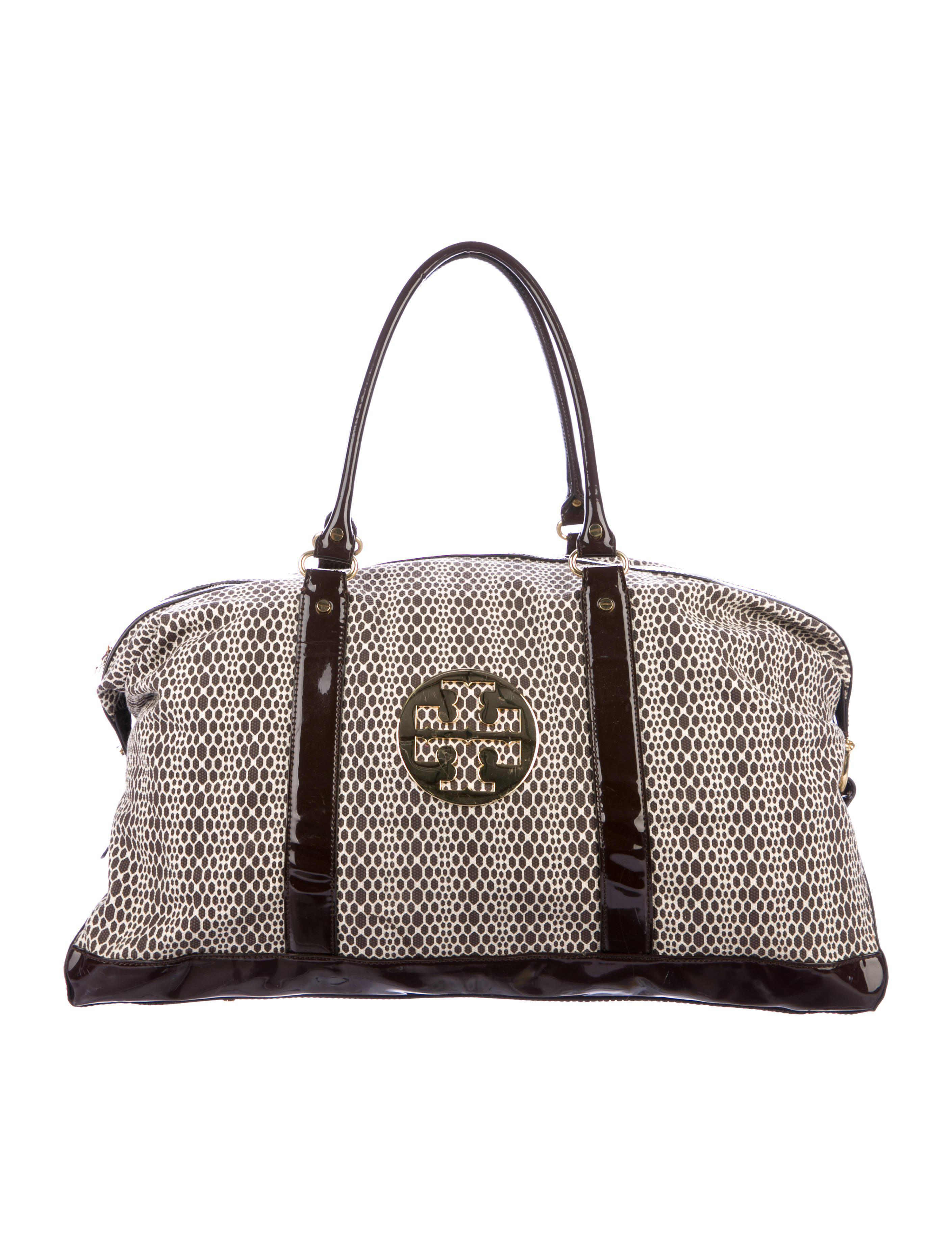 6382a34c30fd Lyst - Tory Burch Patent Leather-accented Canvas Weekender Brown in ...