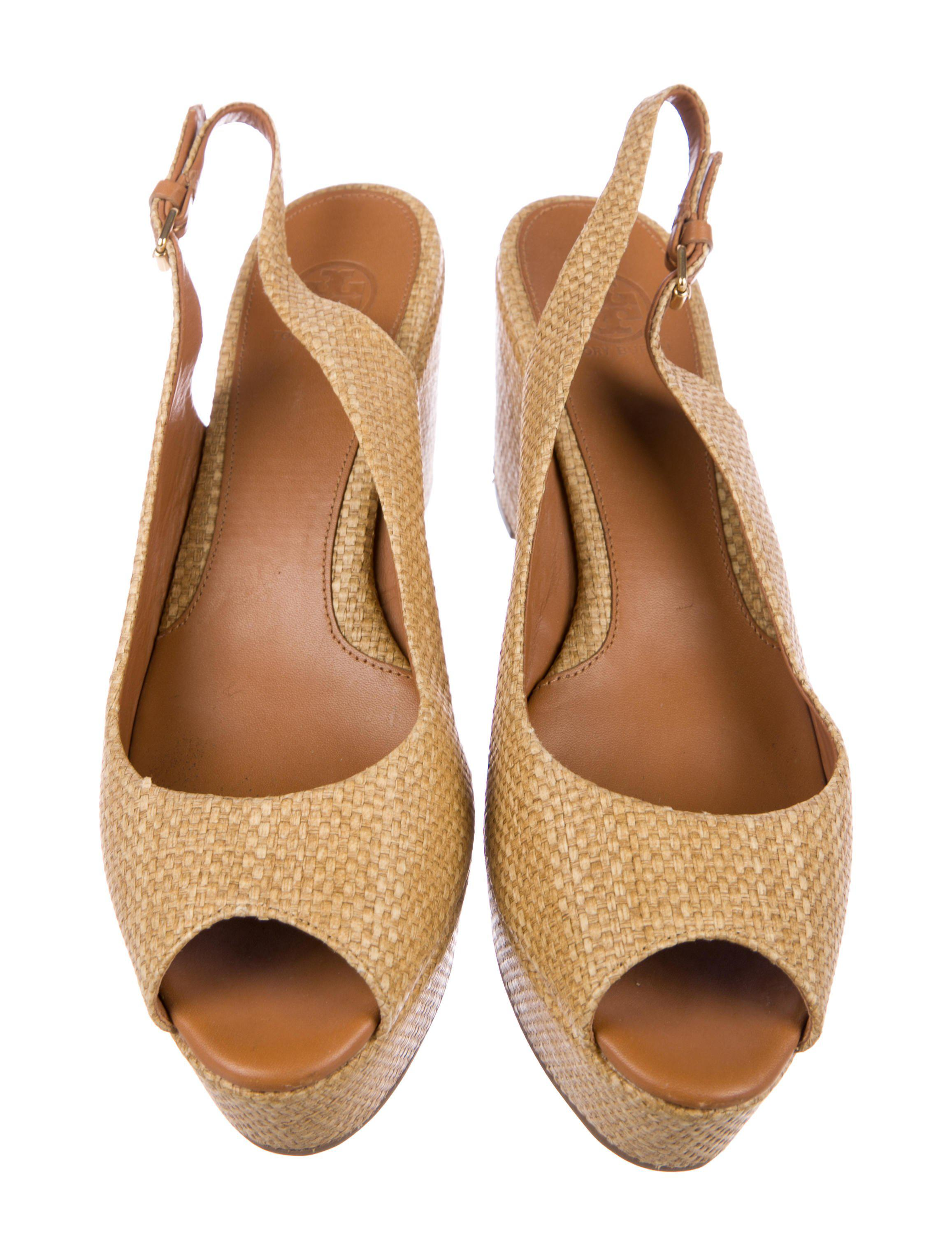a3c09a0522b Tory Burch - Natural Rosalind Peep-toe Wedges Tan - Lyst. View fullscreen