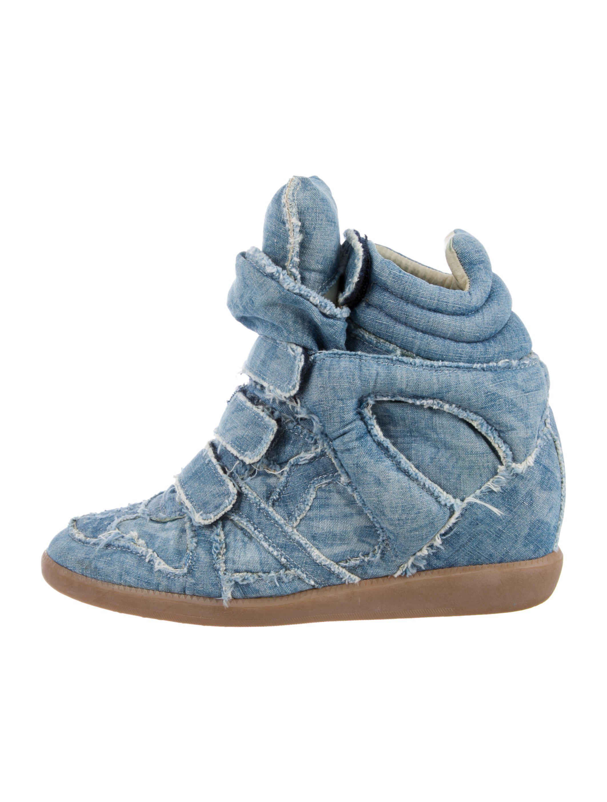 Isabel Marant Denim Basket Wedge Sneakers discount footlocker pictures hB72U4YfR