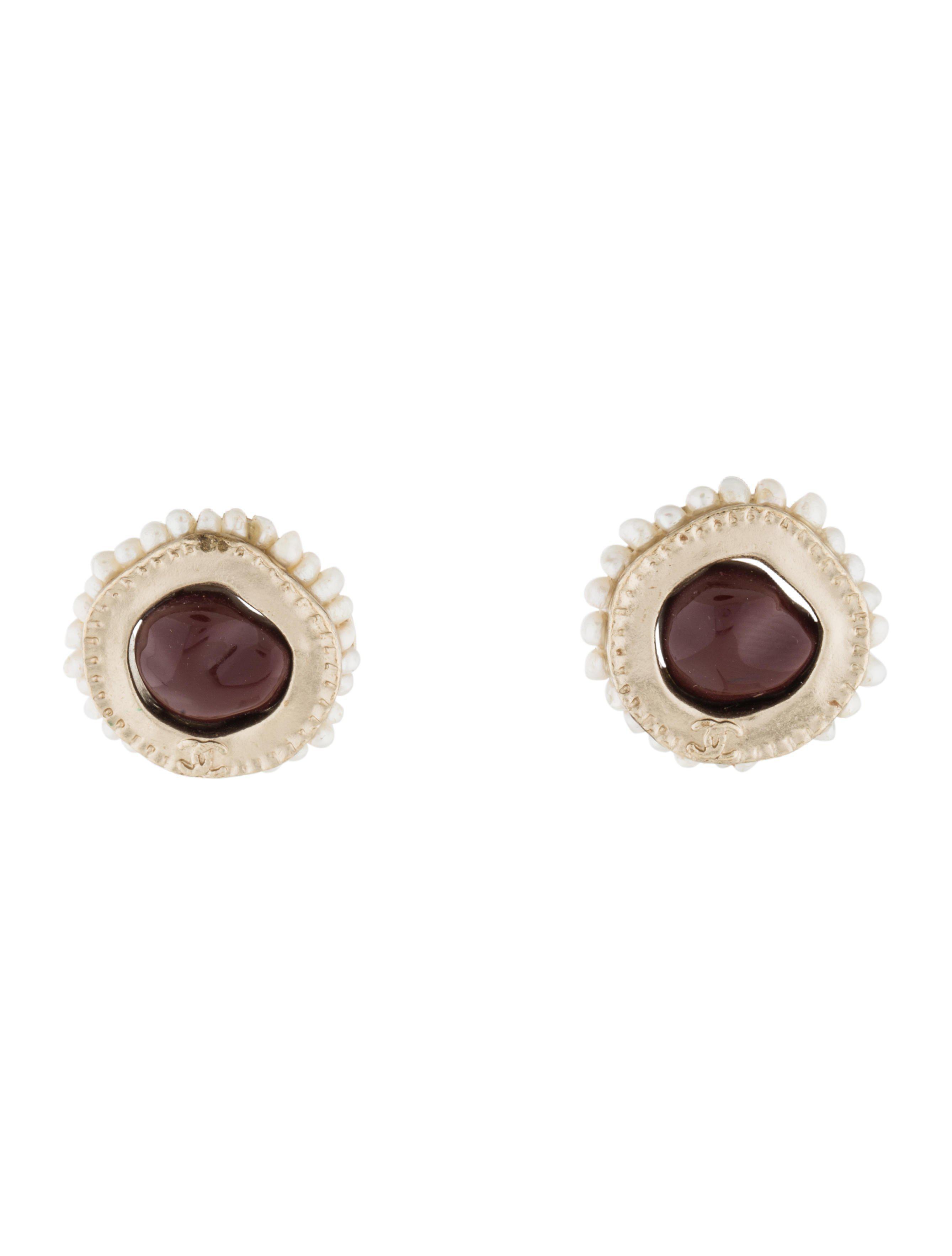 lyst chanel resin amp pearl stud earrings gold in metallic