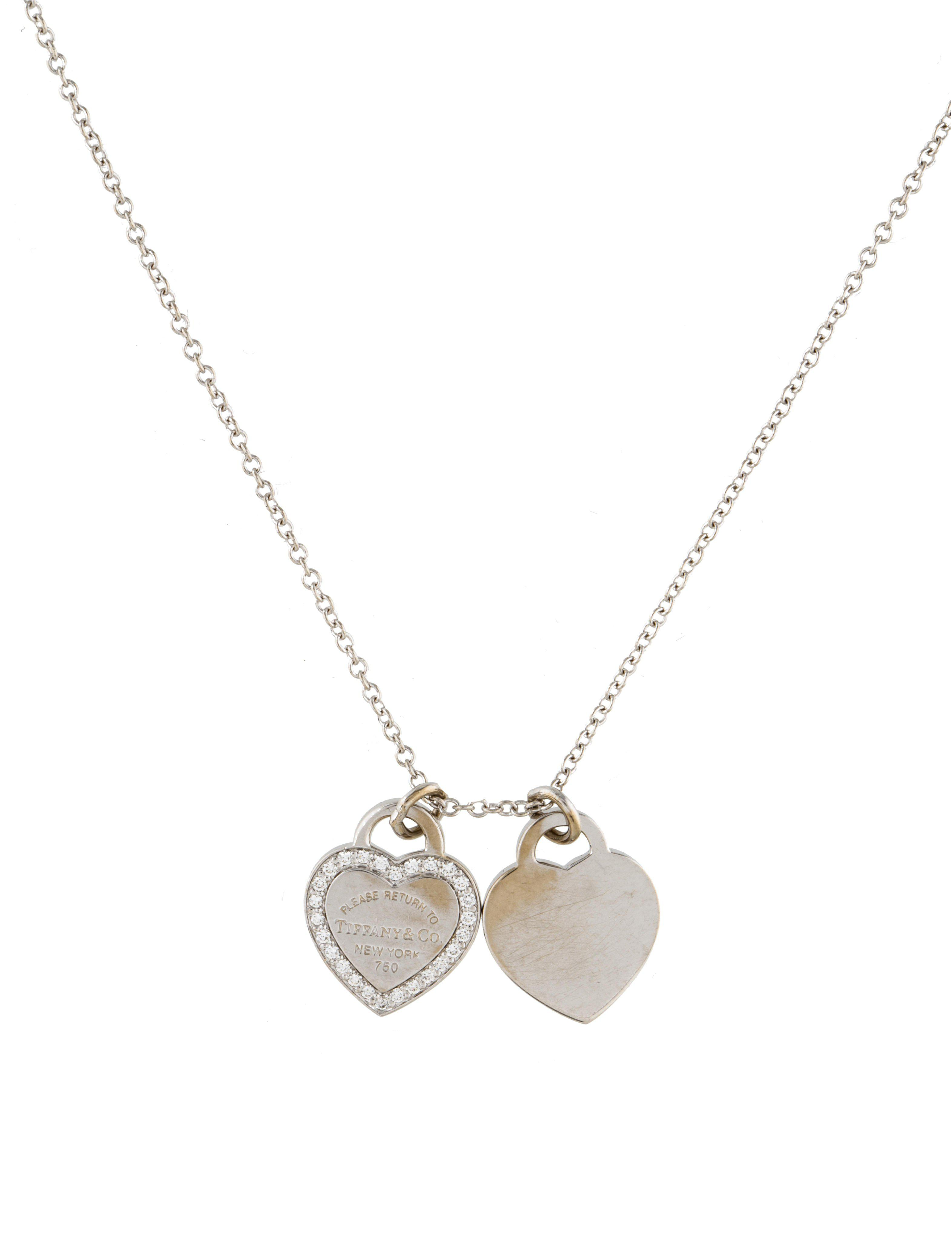 045bd78c530b Lyst - Tiffany   Co 18k Diamond Double Heart Tag Pendant Necklace ...
