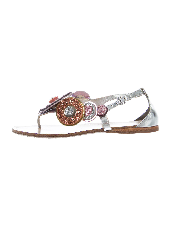 f957d59874c5 Lyst - Miu Miu Miu Floral Embellished Sandals in Metallic