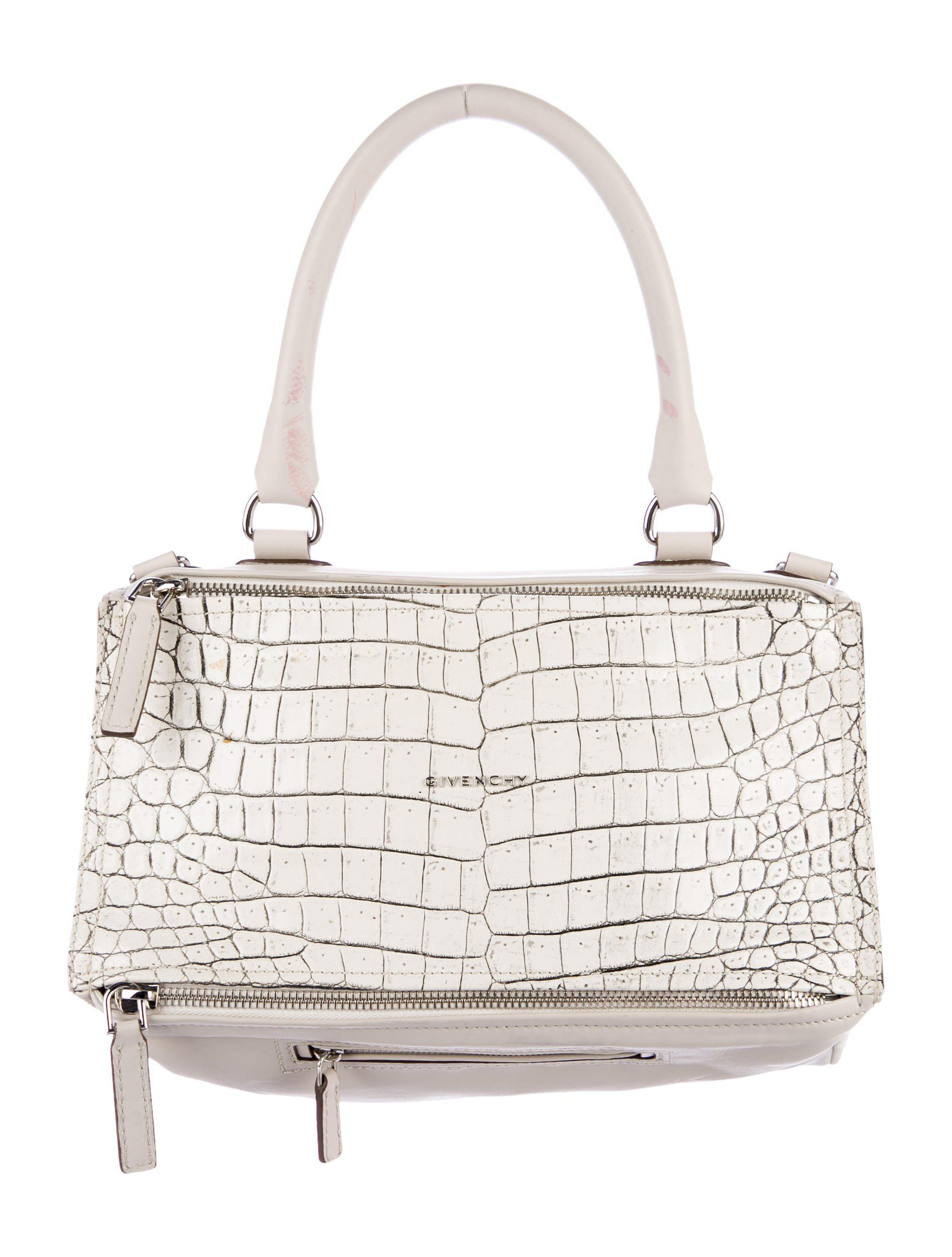 6ae5945b60 Lyst - Givenchy Embossed Medium Pandora Satchel White in Metallic