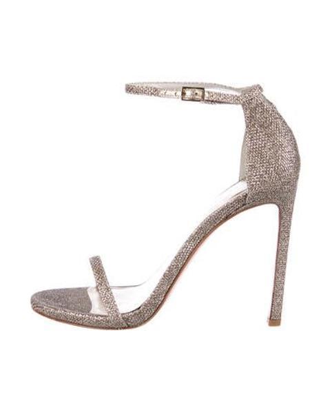 7fb423cc1562 Lyst - Stuart Weitzman Nudist Glitter Sandals Silver in Metallic