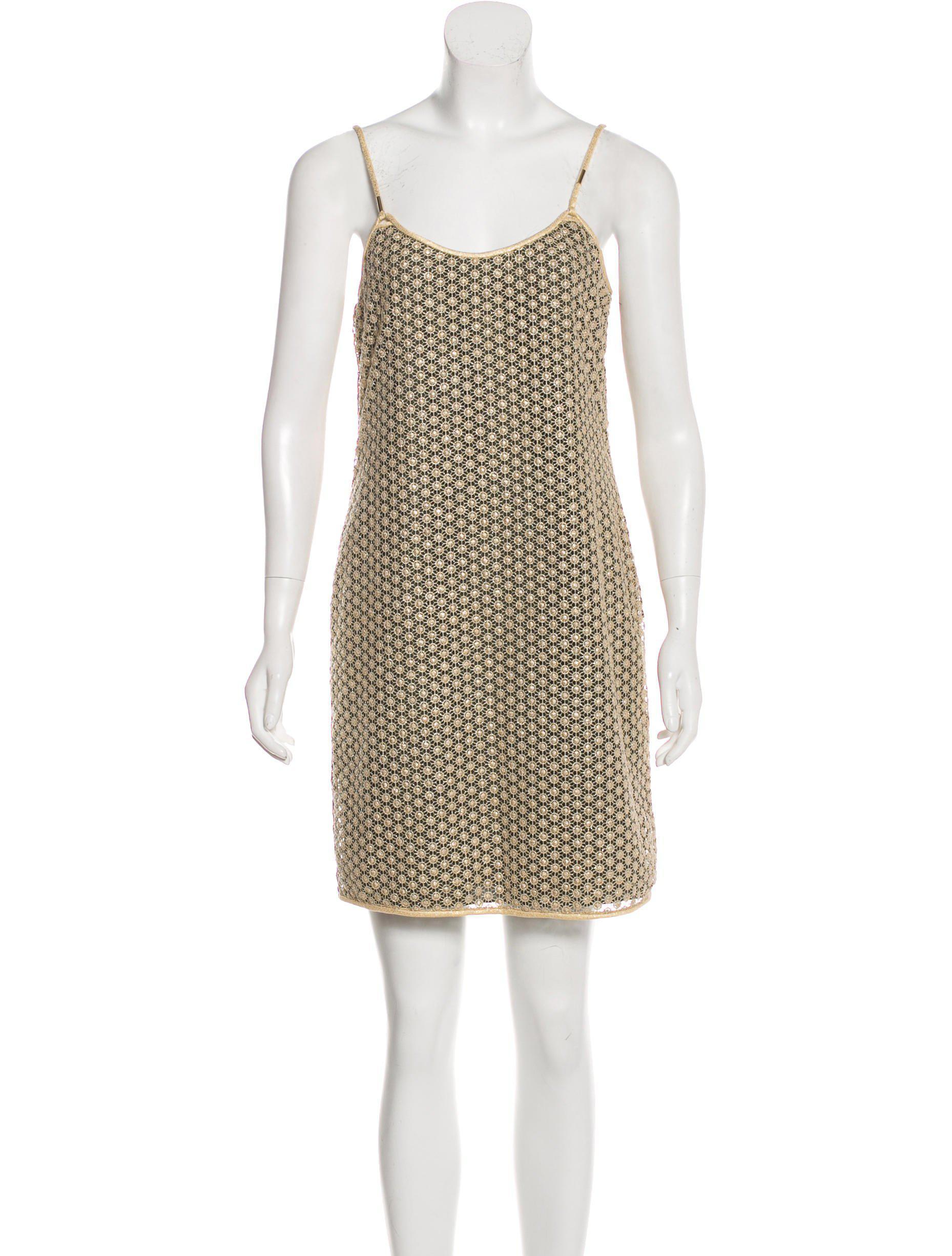 Diane Von Furstenberg Women S Metallic Alvera Sleeveless Dress Gold