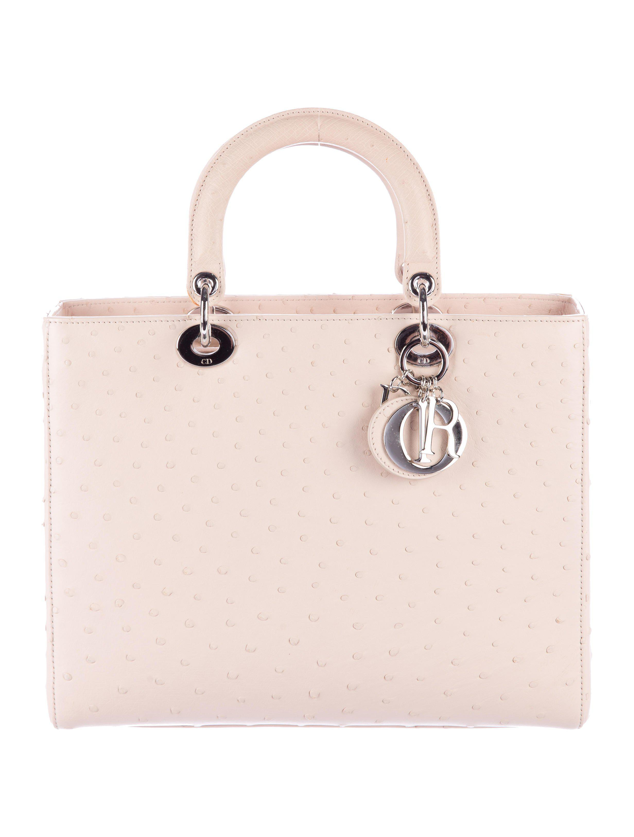 973c4d1d28c9 Lyst - Dior Ostrich Large Lady Bag Silver in Metallic
