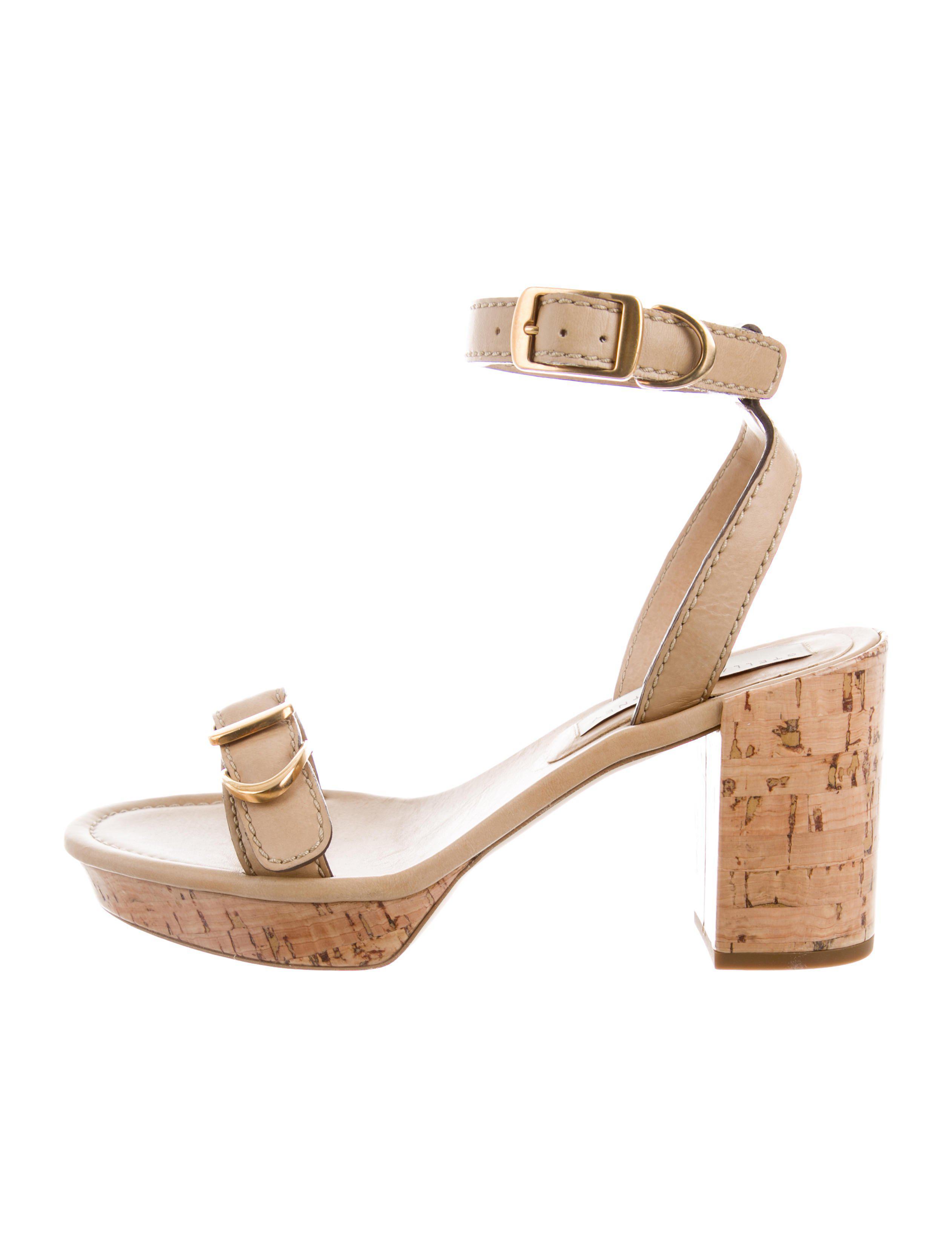 8c4f55a64bc Lyst - Stella Mccartney Ankle-strap Platform Sandals Tan in Metallic