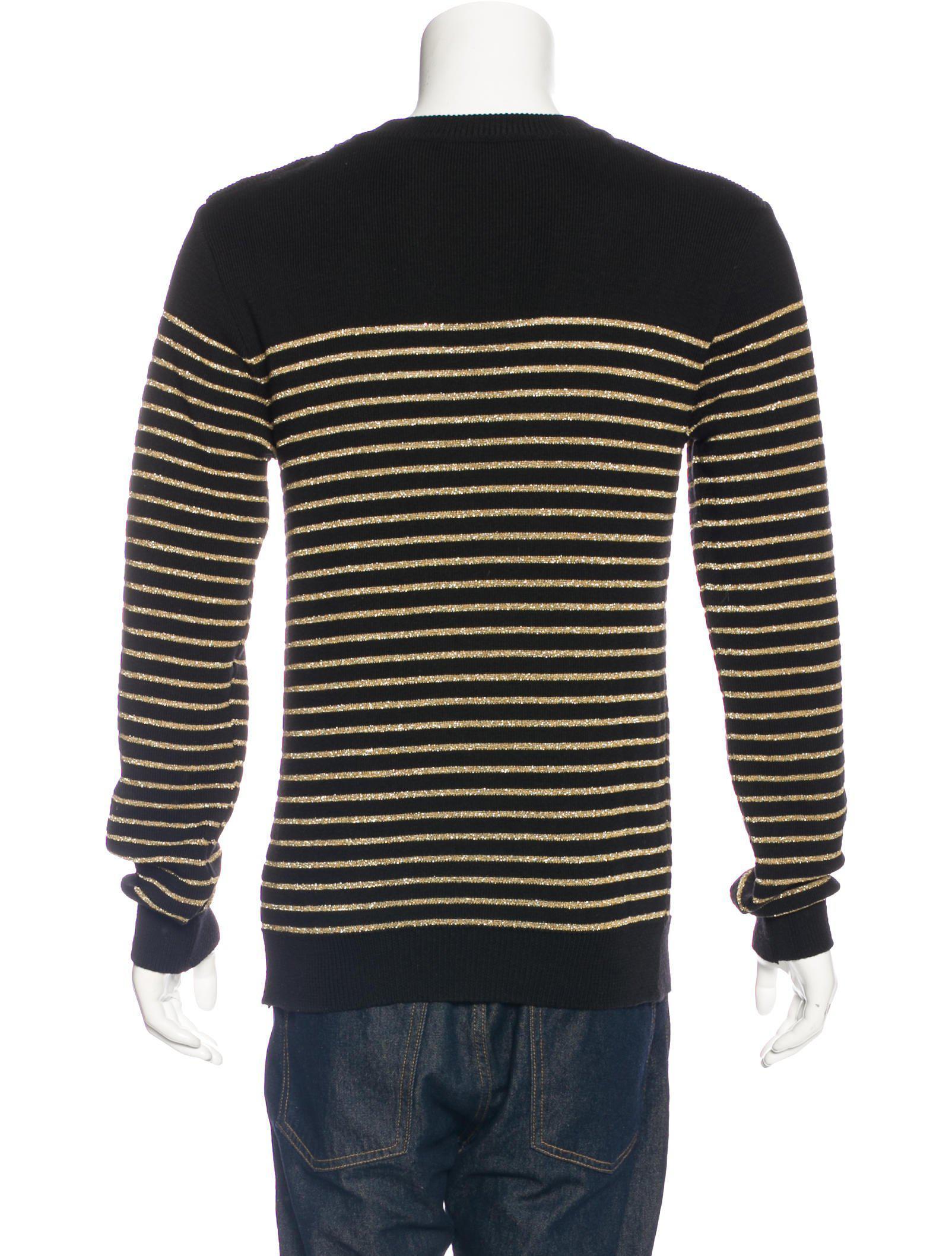 Ebay Online Big Discount Cheap Online metallic striped sweater - Black Balmain x9CYej