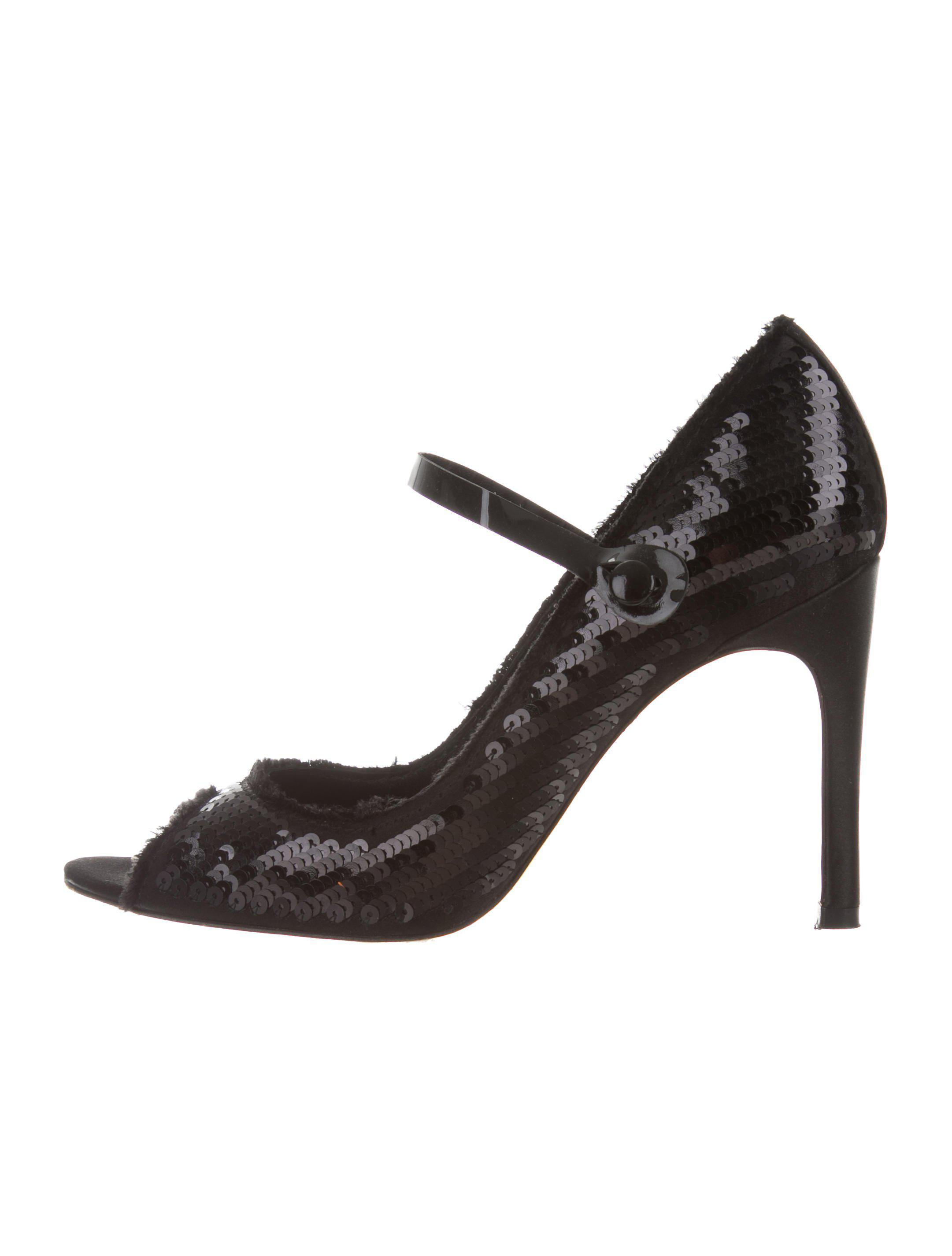 47f443b53a5 Lyst - Pedro Garcia Sequin-embellished Peep-toe Pumps in Black