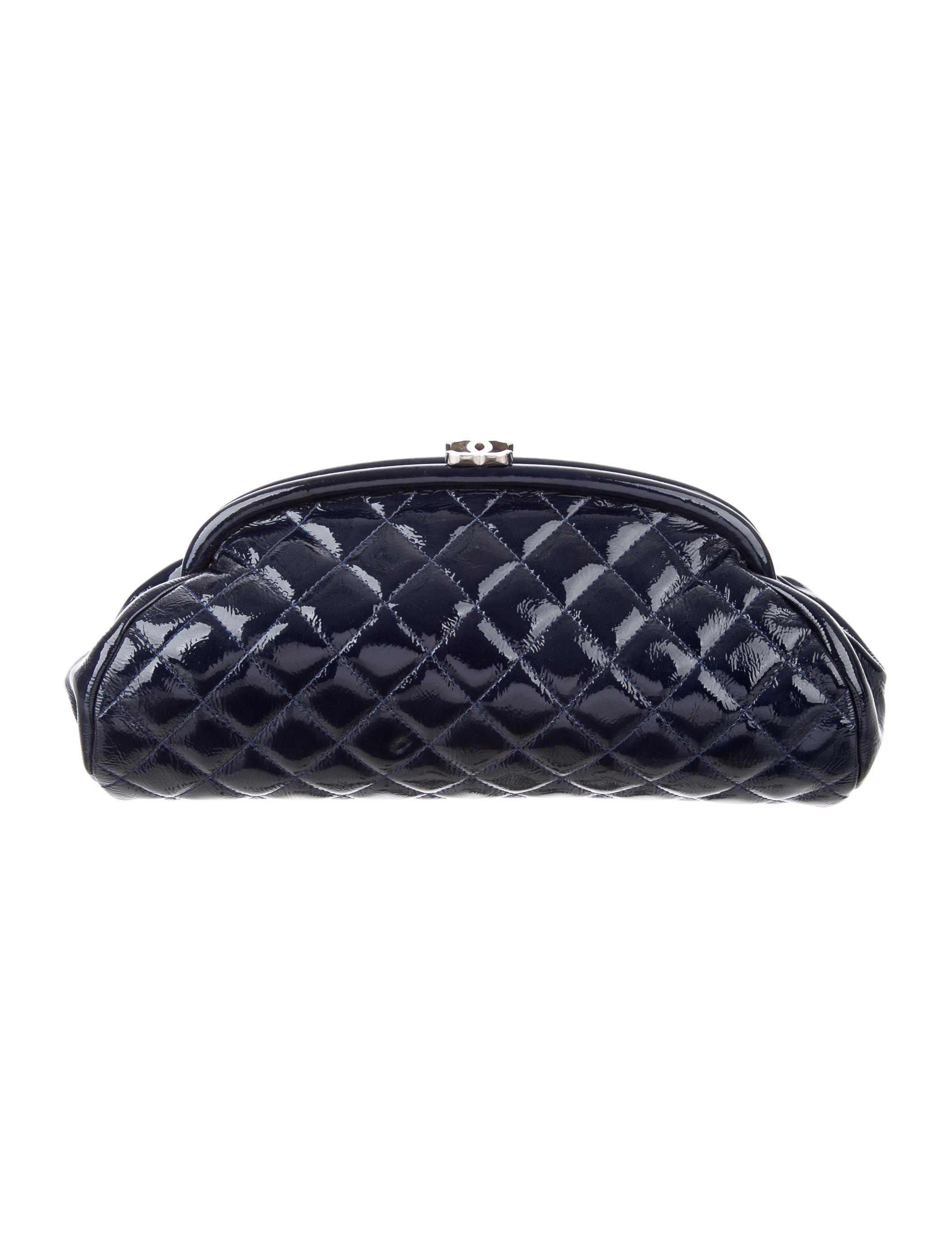 1752565af2db Lyst - Chanel Quilted Patent Timeless Clutch Navy in Metallic