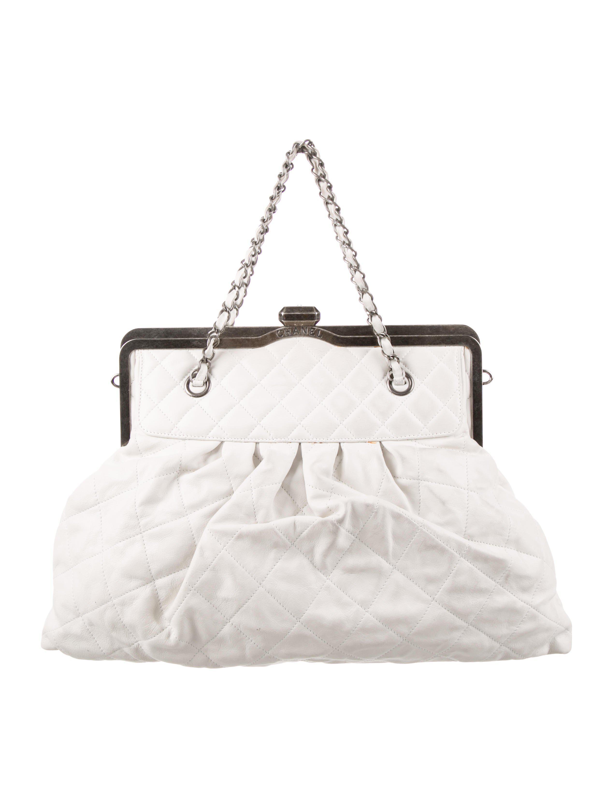 Lyst - Chanel Mademoiselle Frame Satchel White in Metallic 236a83428c2b3