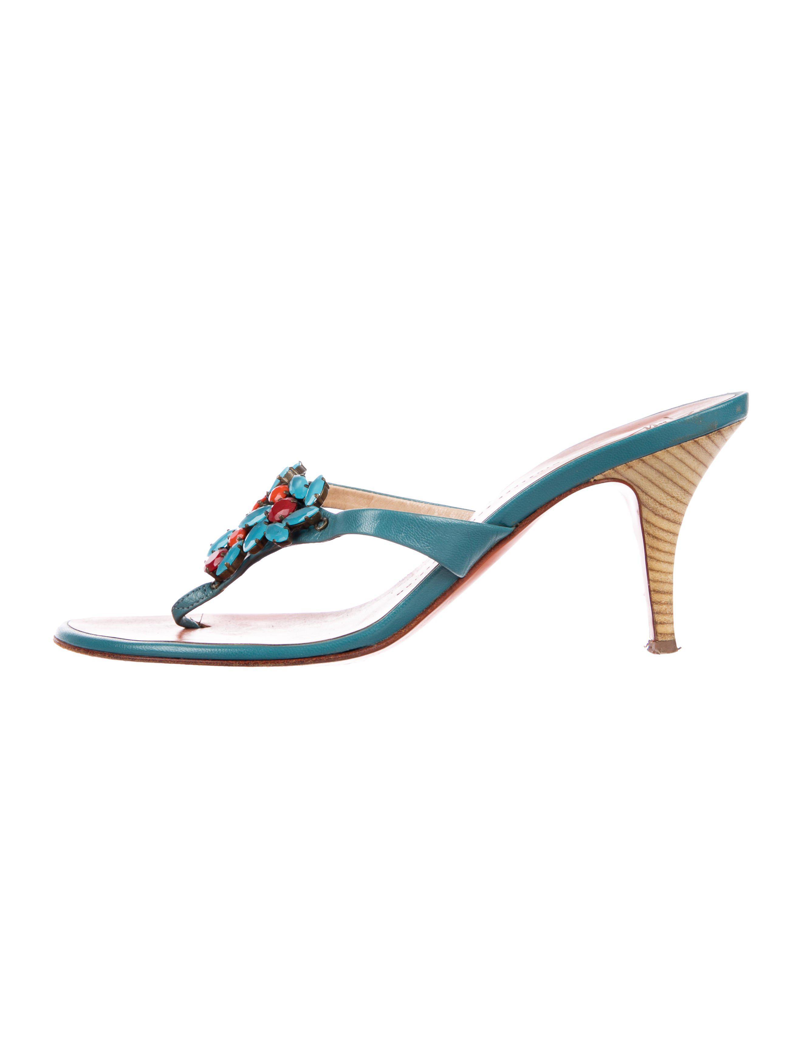 3e8f5aed1352 Lyst - Giuseppe Zanotti Embellished Slide Sandals in Blue