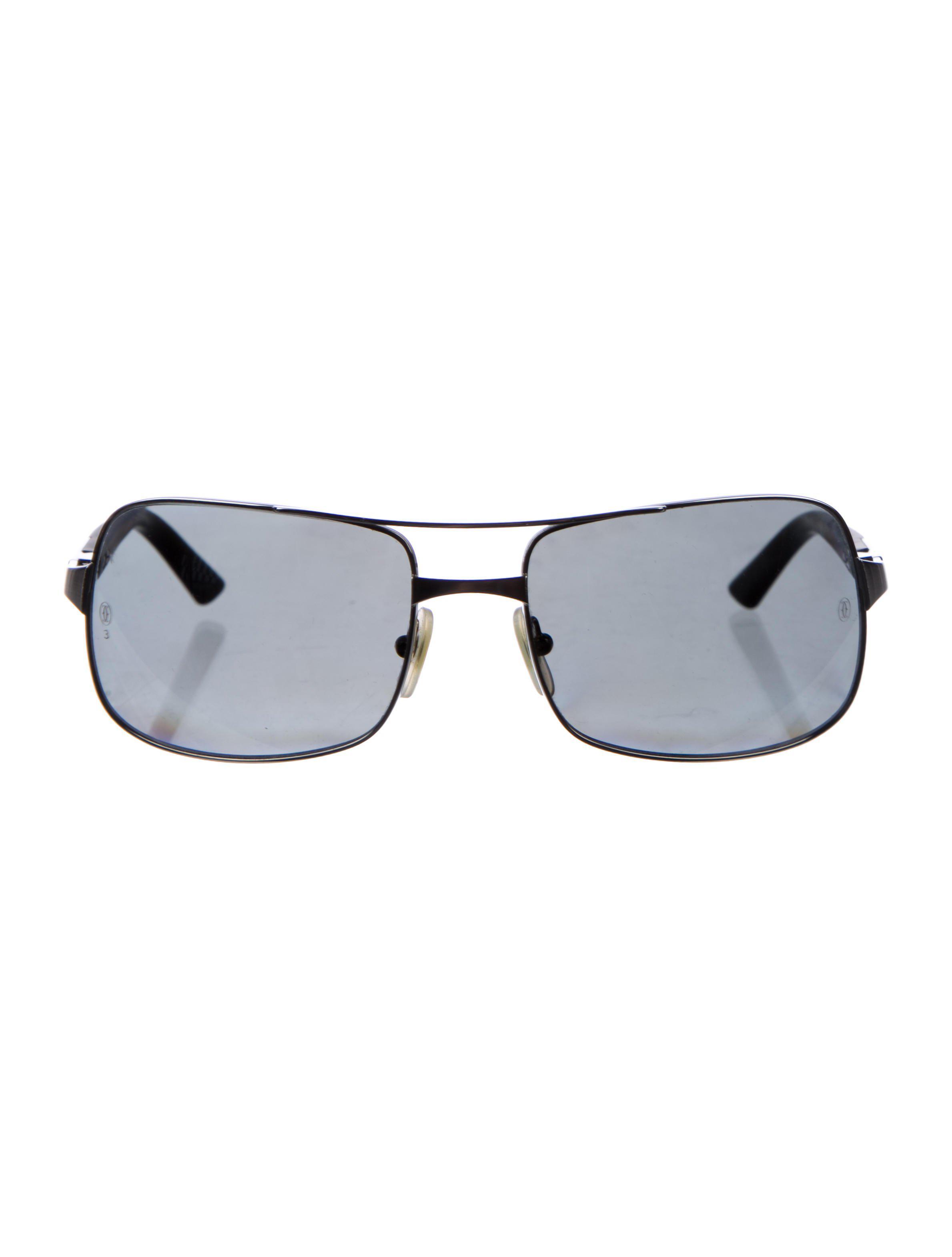 9813ee2d70 Lyst - Cartier Santos Polarized Sunglasses Silver in Metallic