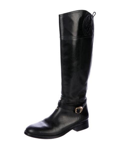 e38909fe8d3 Lyst - Tory Burch Leather Round-toe Knee-high Boots Black in Metallic