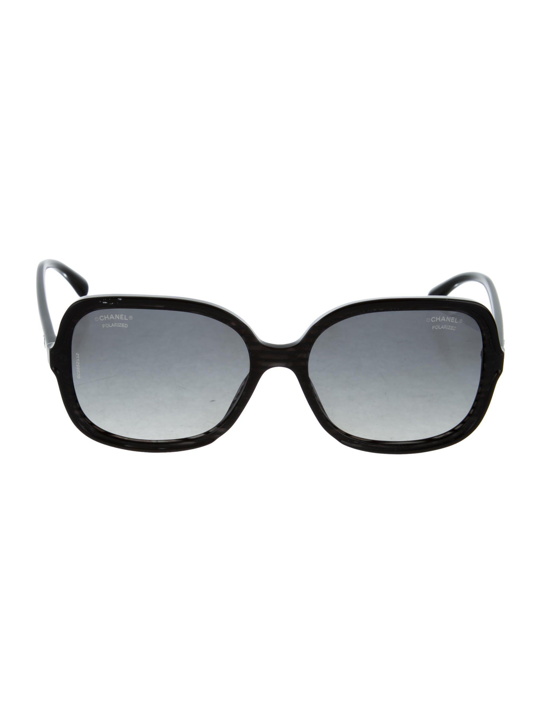 26db76150d4 Lyst - Chanel Polarized Cc Sunglasses Black in Metallic
