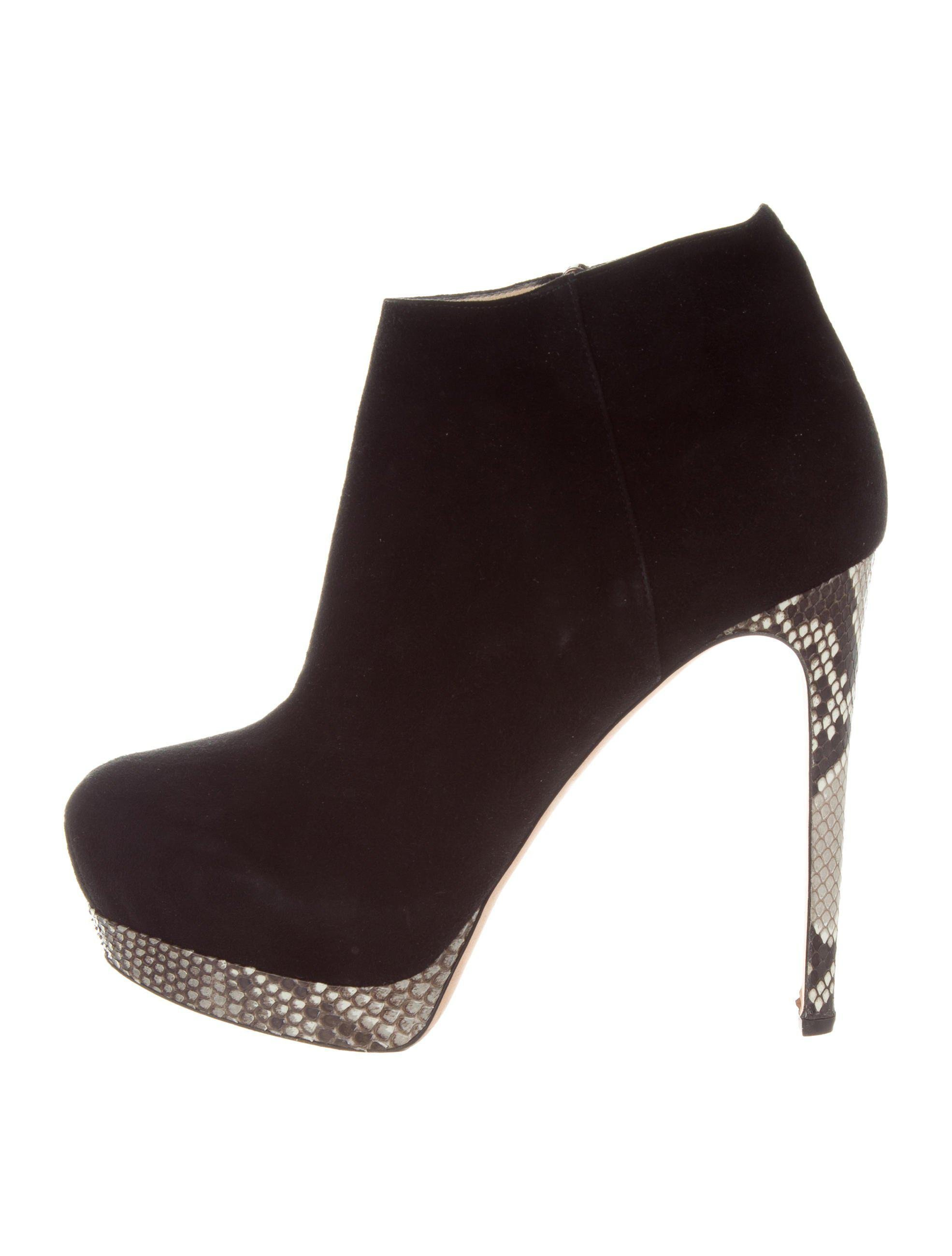buy cheap real Alexandre Birman Snakeskin-Trimmed Cutout Ankle Boots outlet new sale 100% authentic SdjJa32DtL