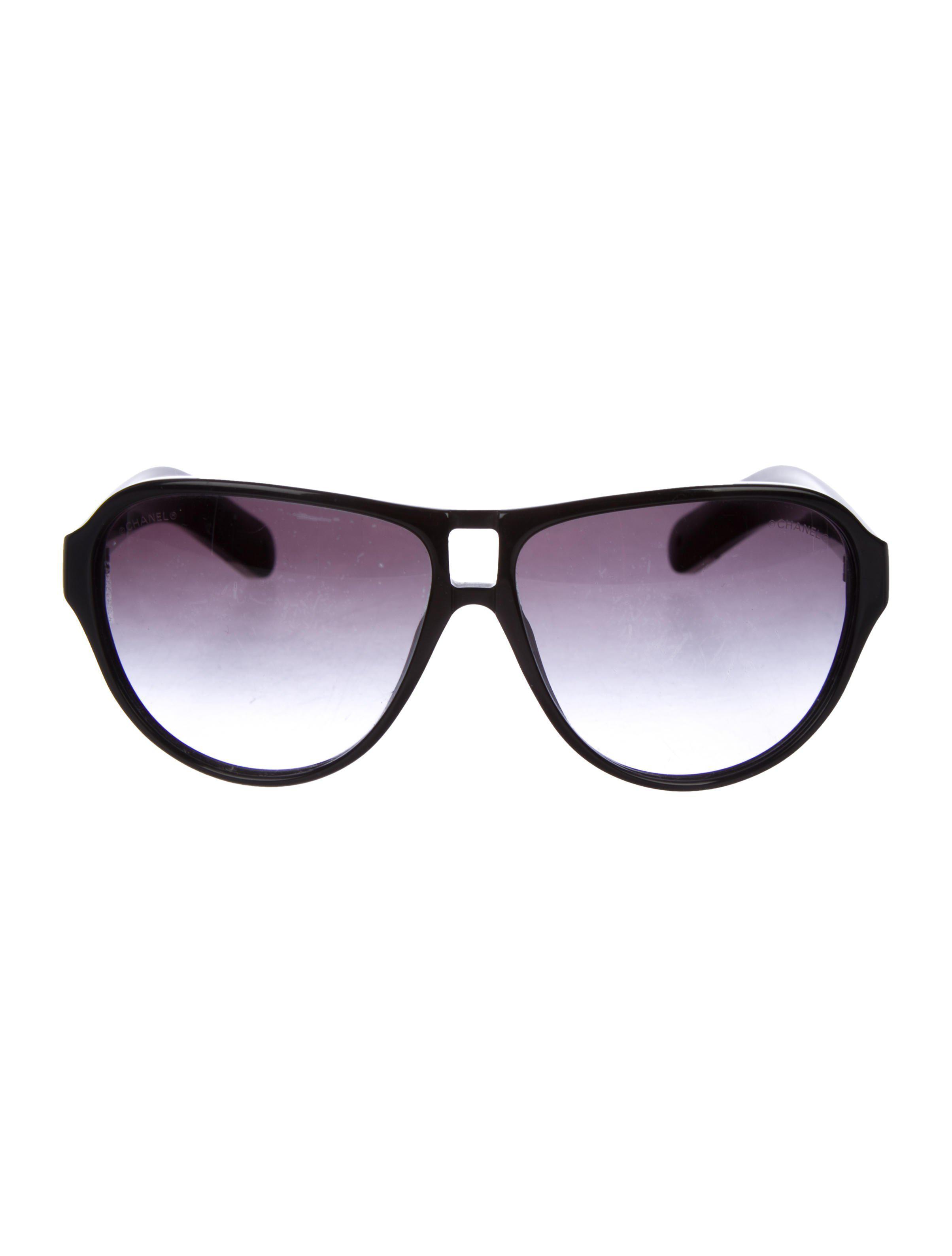 857c2fe7d69 Chanel - Metallic Cc Aviator Sunglasses Black - Lyst. View Fullscreen