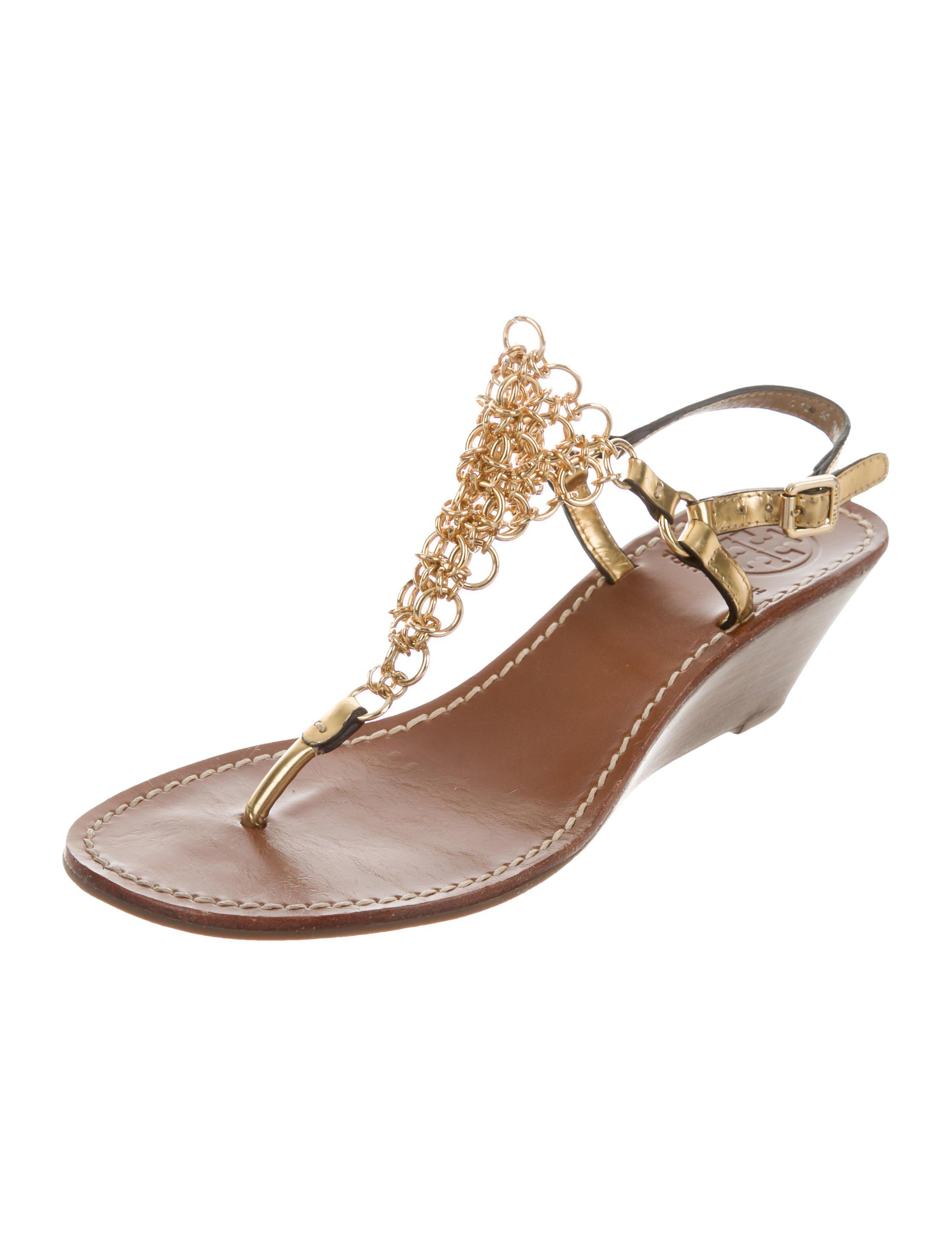 b8c3855298c8a Tory Burch - Metallic Chain-link Wedge Sandals - Lyst. View fullscreen
